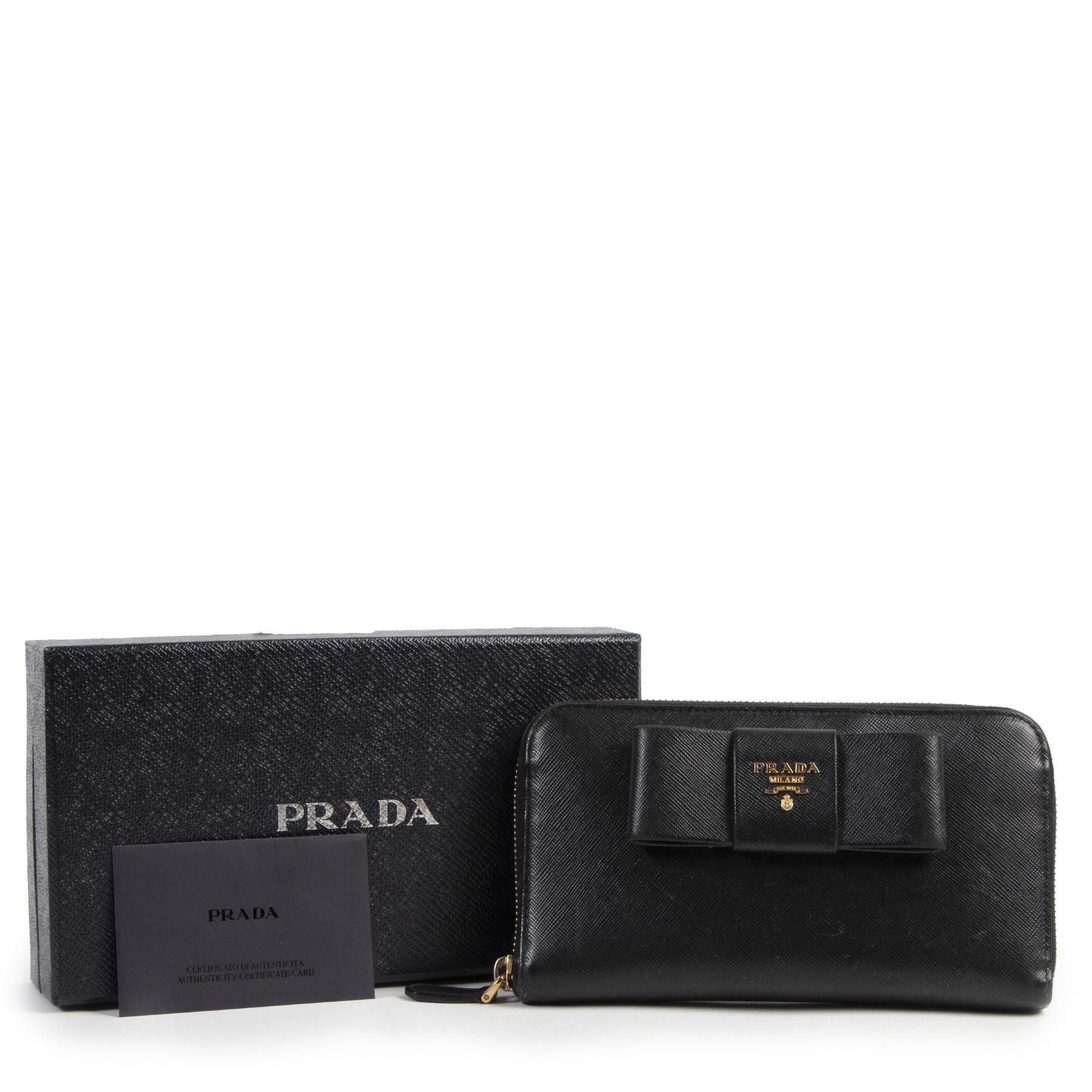 Prada Black Saffiano Leather Bow Wallet