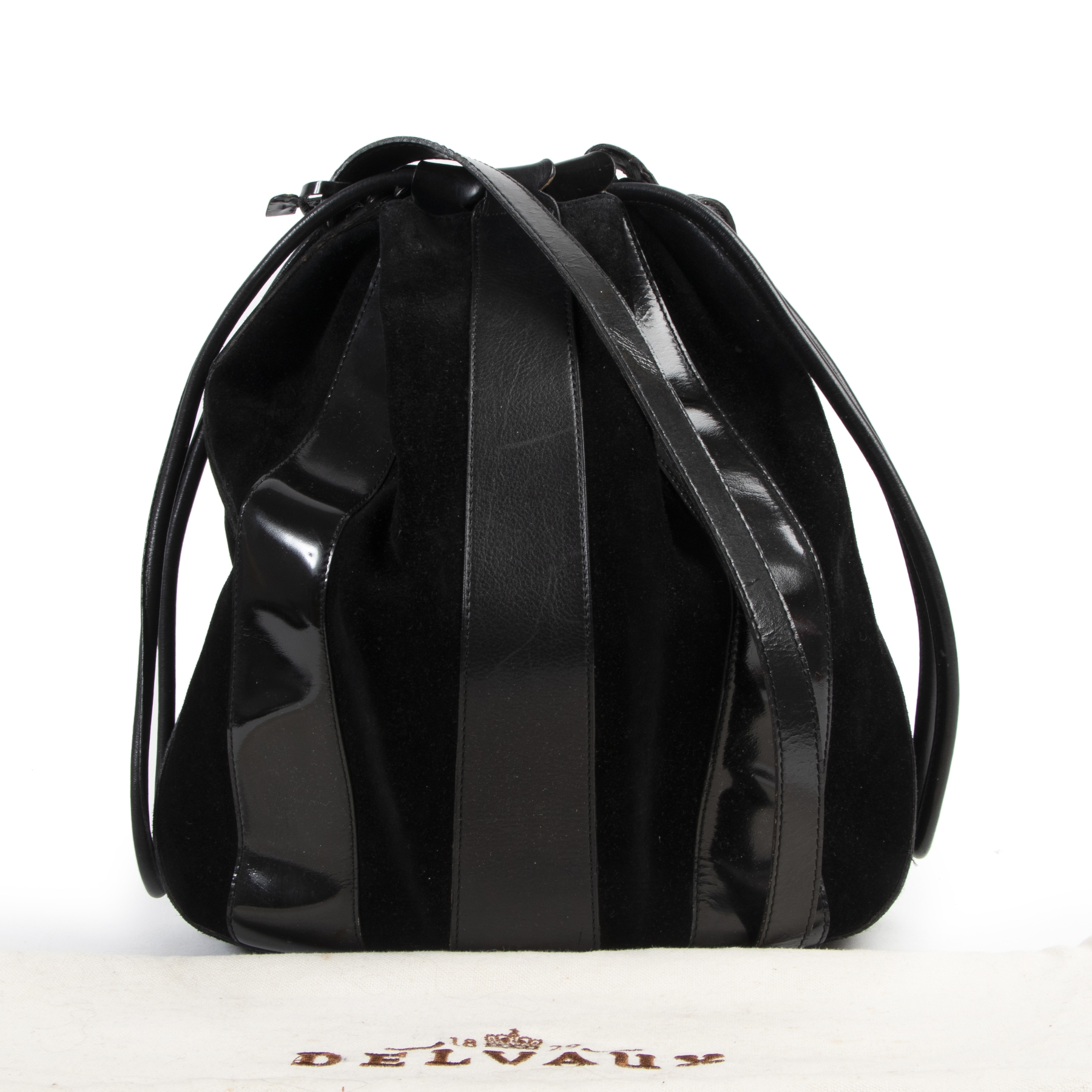 Buy and sell your authentic designer Delvaux Black Suede and Patent Drawstring Bag