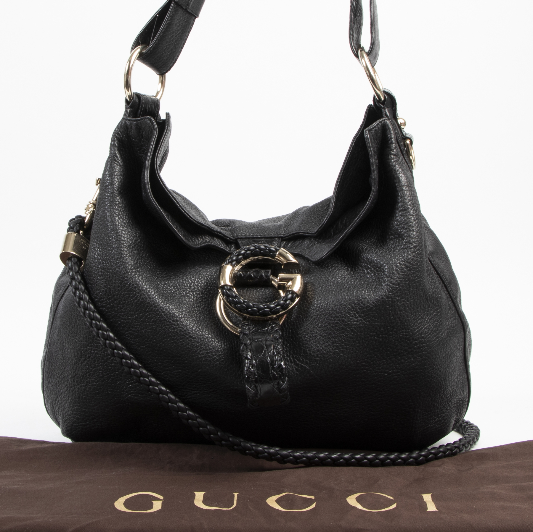 Gucci Black Leather Braided Hobo Bag with Croc Details kopen en verkopen aan de beste prijs