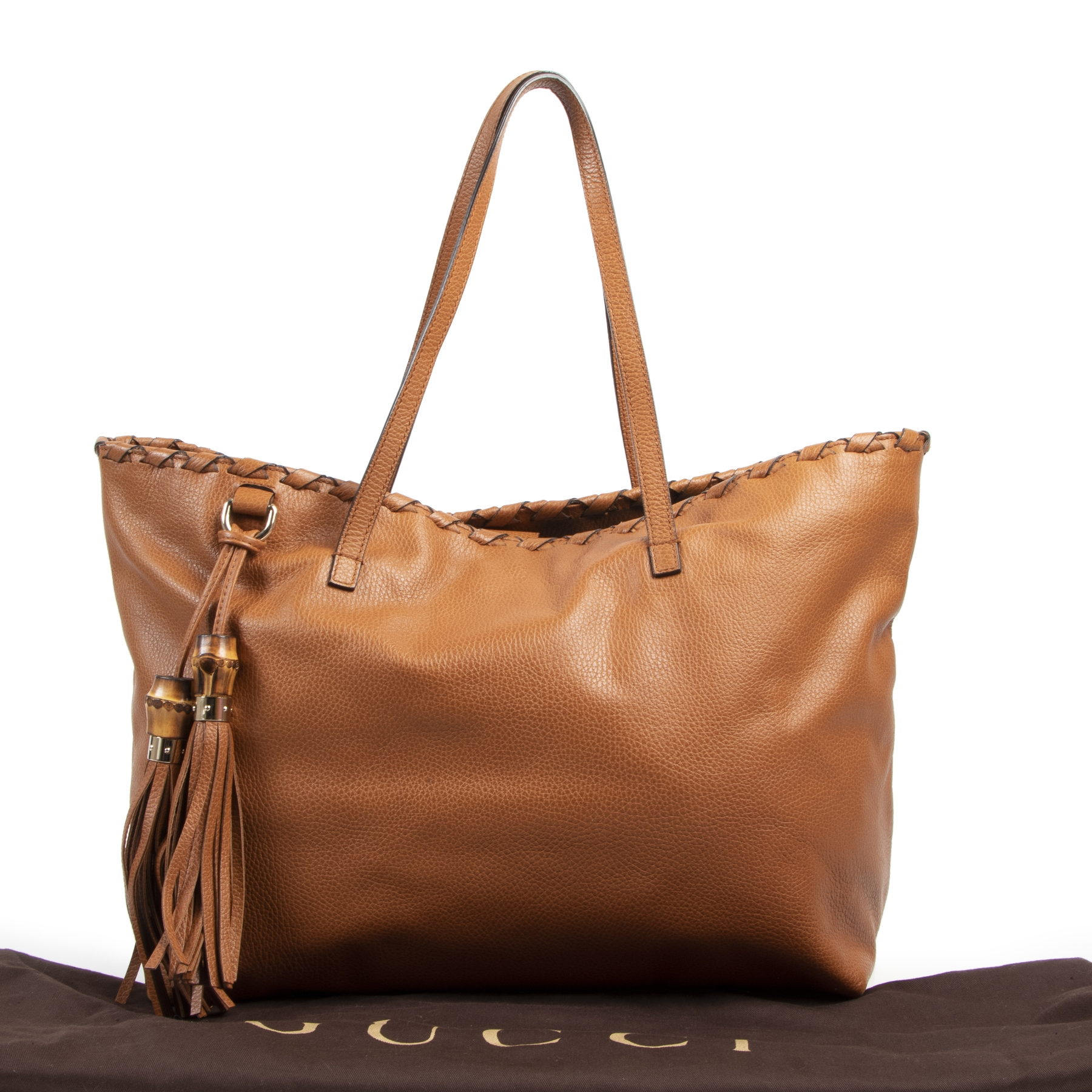 koop veilig online Gucci Cognac Pebbled Leather Bamboo Tassel Tote Bag