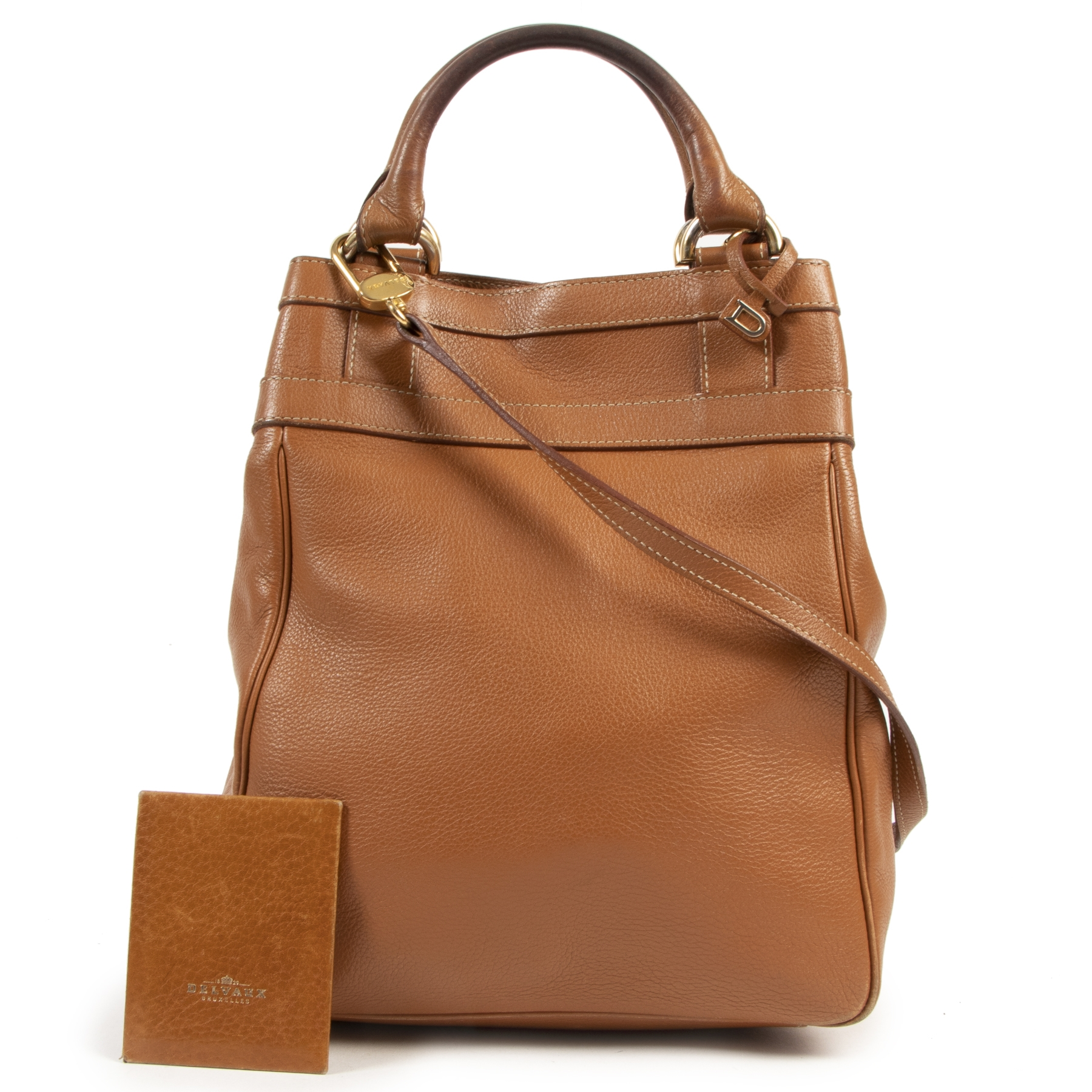 skip the waiting list shop safe online Delvaux Cognac Leather Top Handle Crossbody Bag