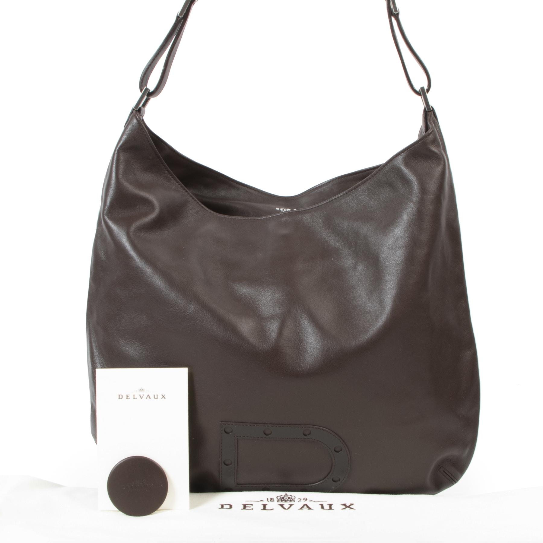 Authentic secondhand Delvaux Brown Le Louise Tote Shoulder Bag designer bags fashion luxury vintage webshop safe secure online shopping