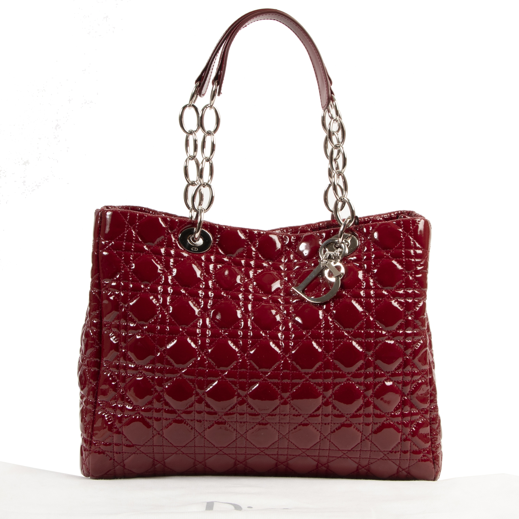 Dior Burgundy Patent Cannage Tote