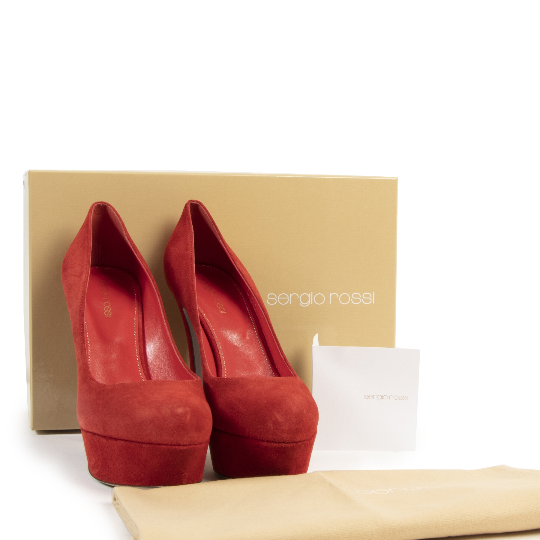 Sergio Rossi Red Suede Platform Pumps