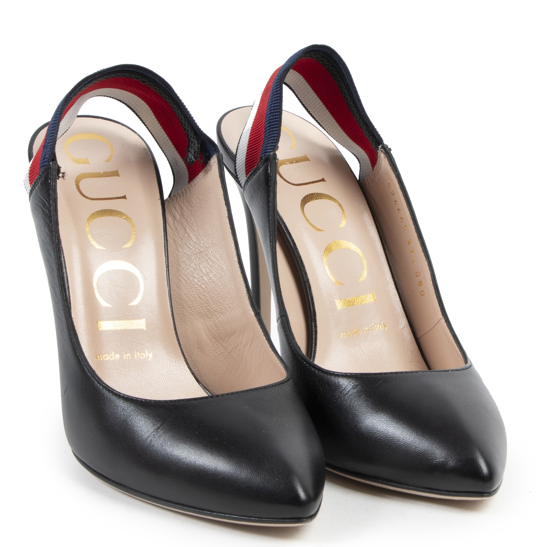 Authentic secondhand Gucci Black Web Slingback Pumps - size 37.5 designer shoes fashion luxury vintage webshop safe secure online shopping