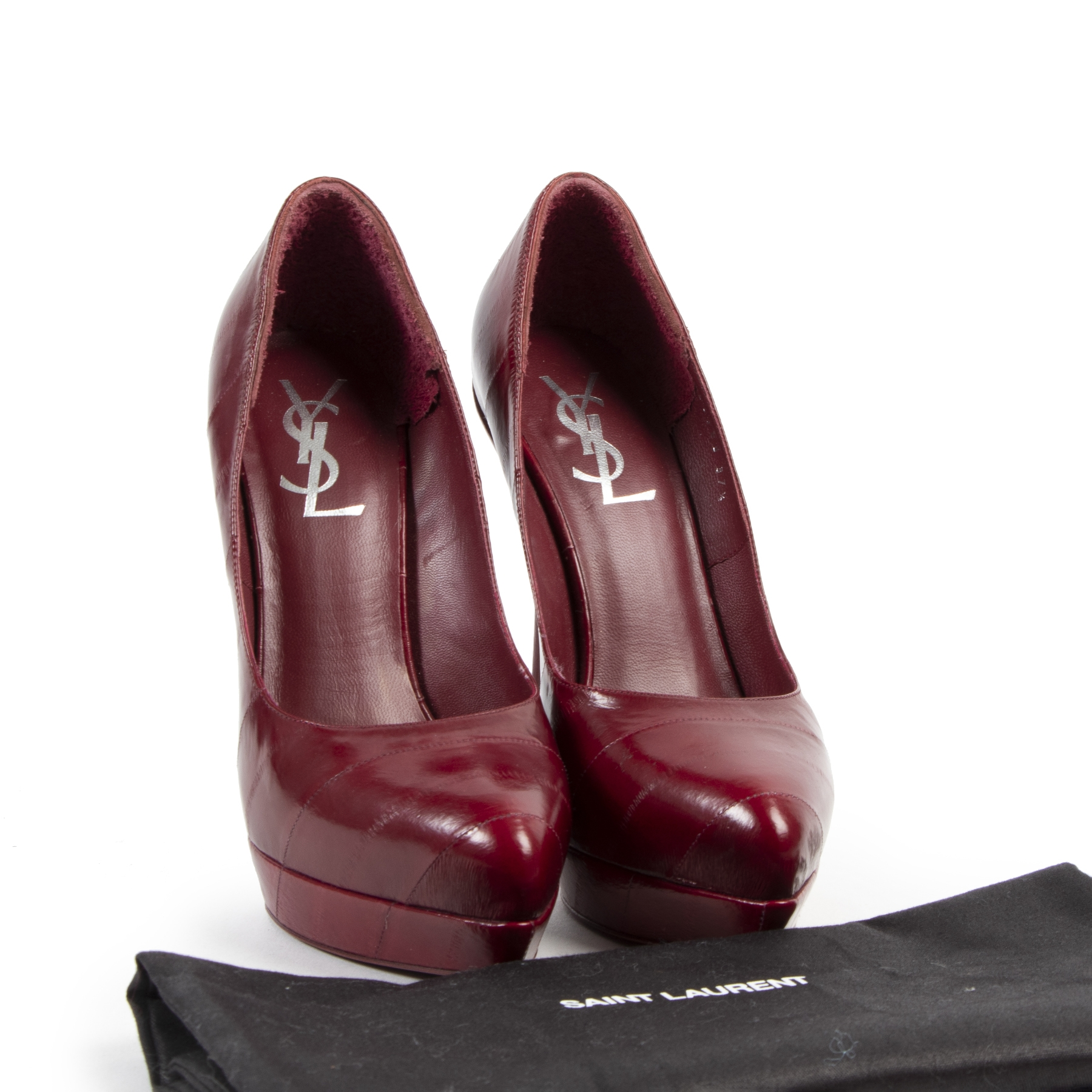 Authentic secondhand Saint Laurent Burgundy Leather Platform Heels - Size 37,5 designer shoes bags fashion luxury vintage webshop safe secure online shopping