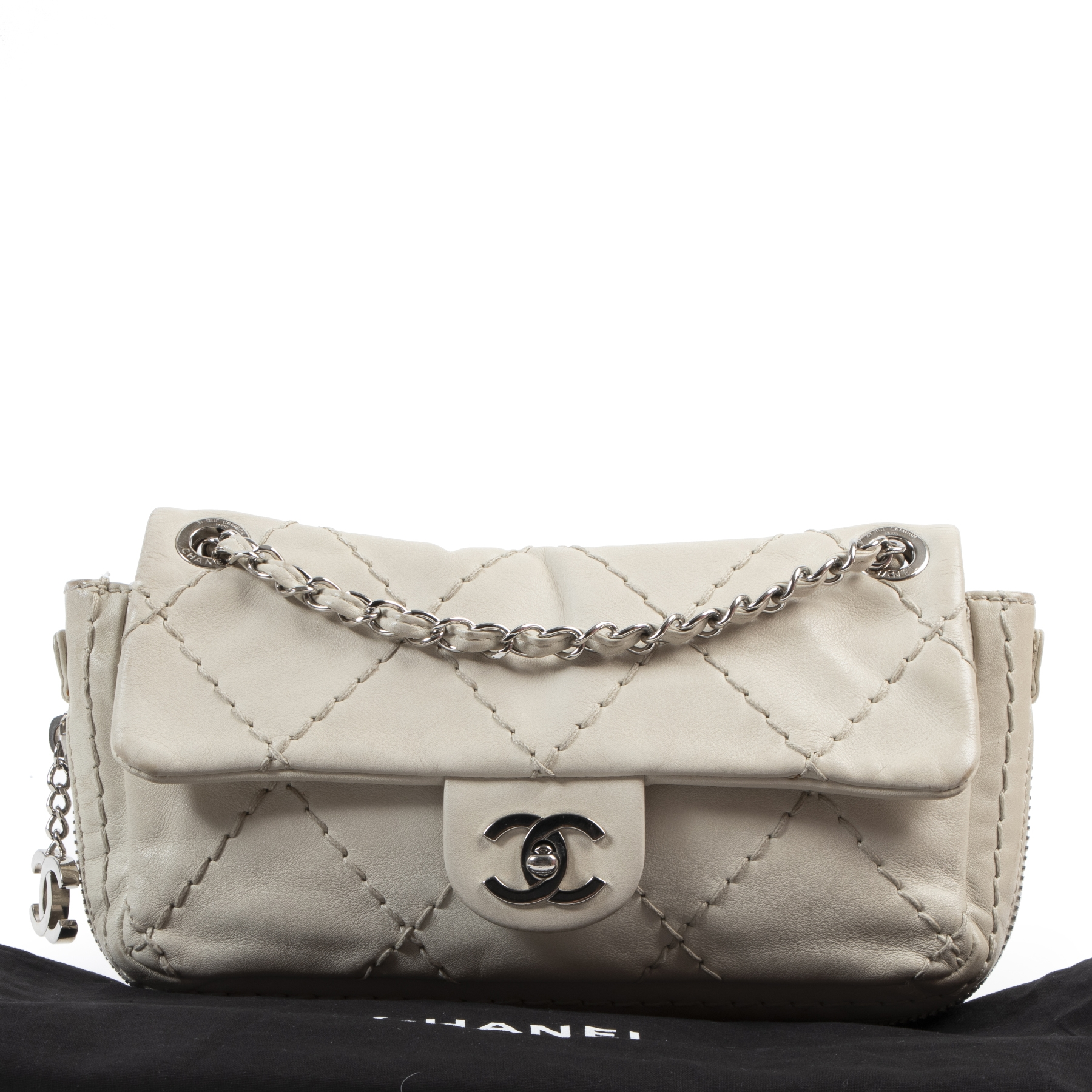 skip the waitinglist shop safe online Chanel Ivory Quilted Leather Flap Bag PHW