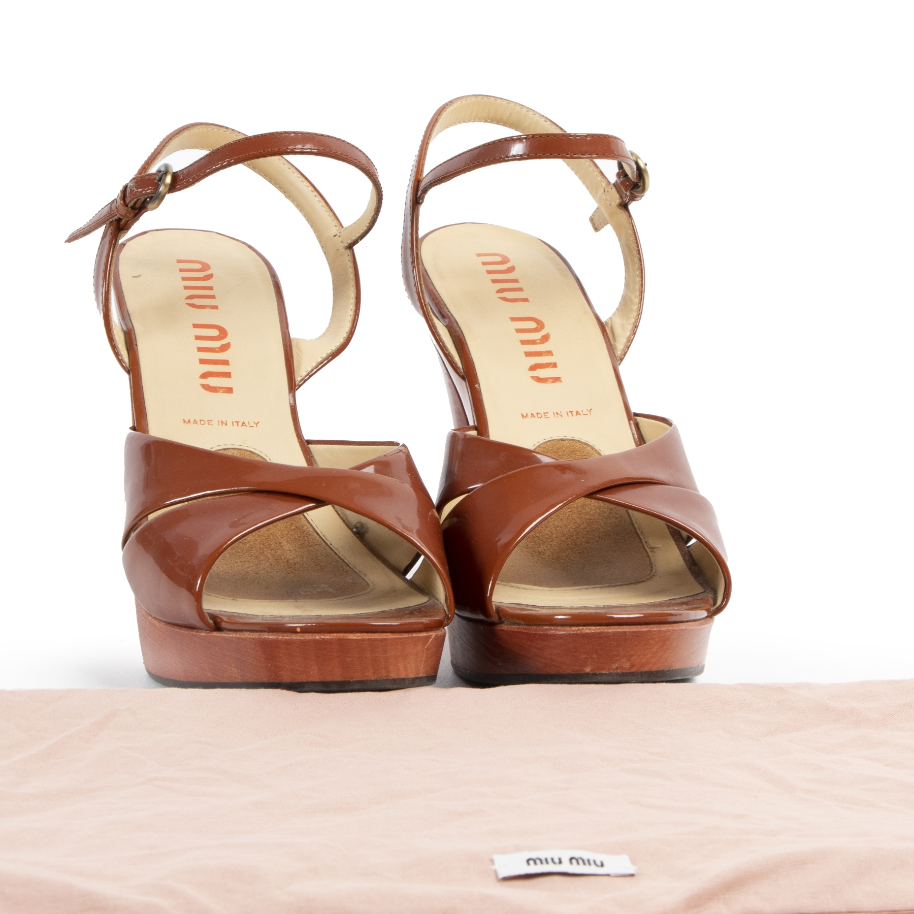 Miu Miu Brown Strappy Sandal Heels with Peep Toe