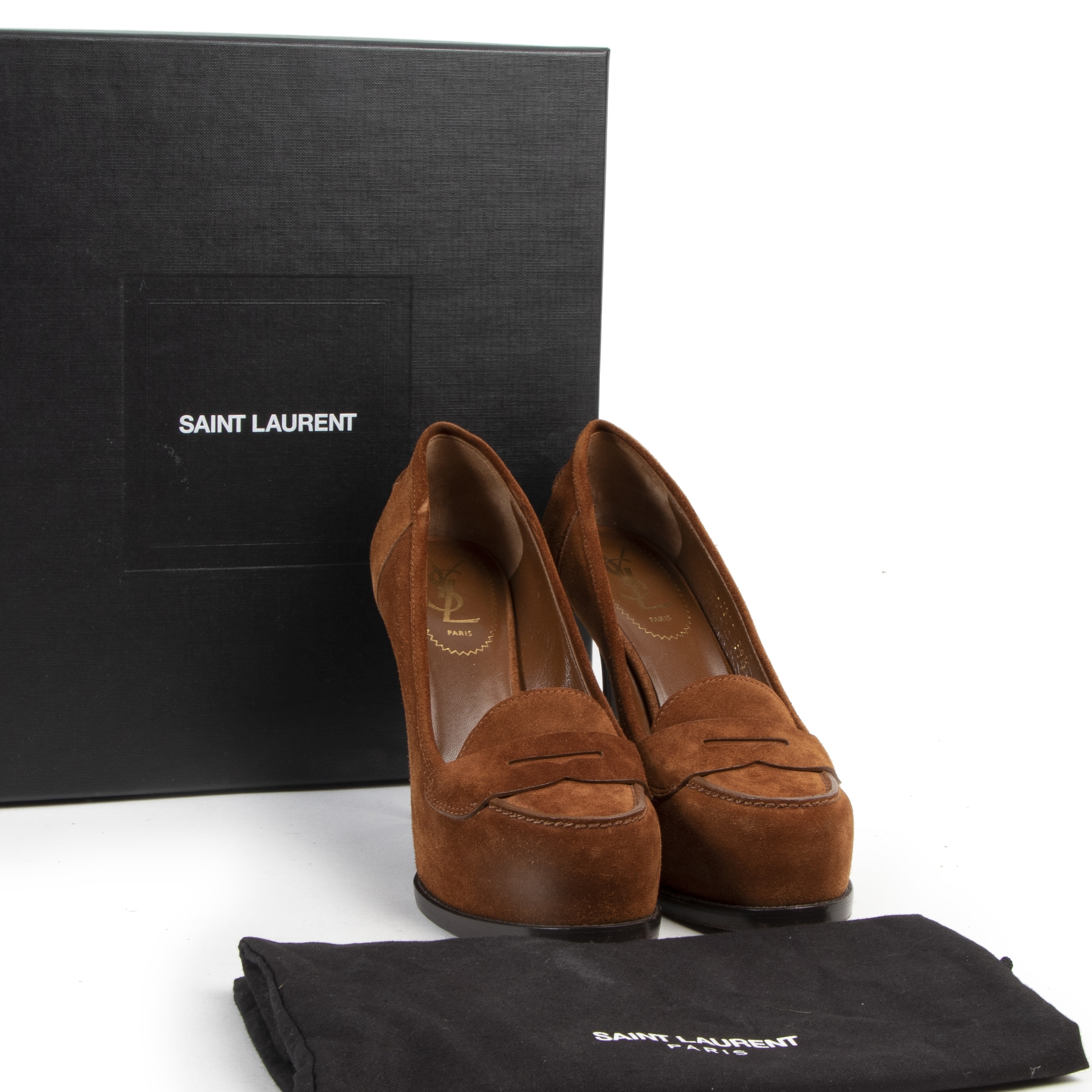 We buy and sell your authentic Saint Laurent Camel Suede Tribute Pumps