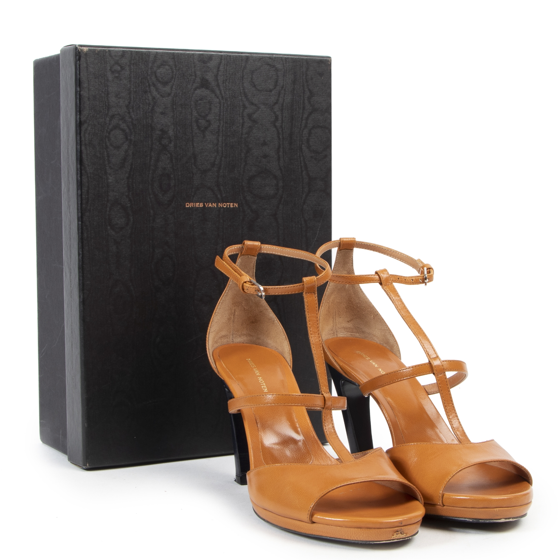 Dries Van Noten Orange Strappy Heeled Sandals