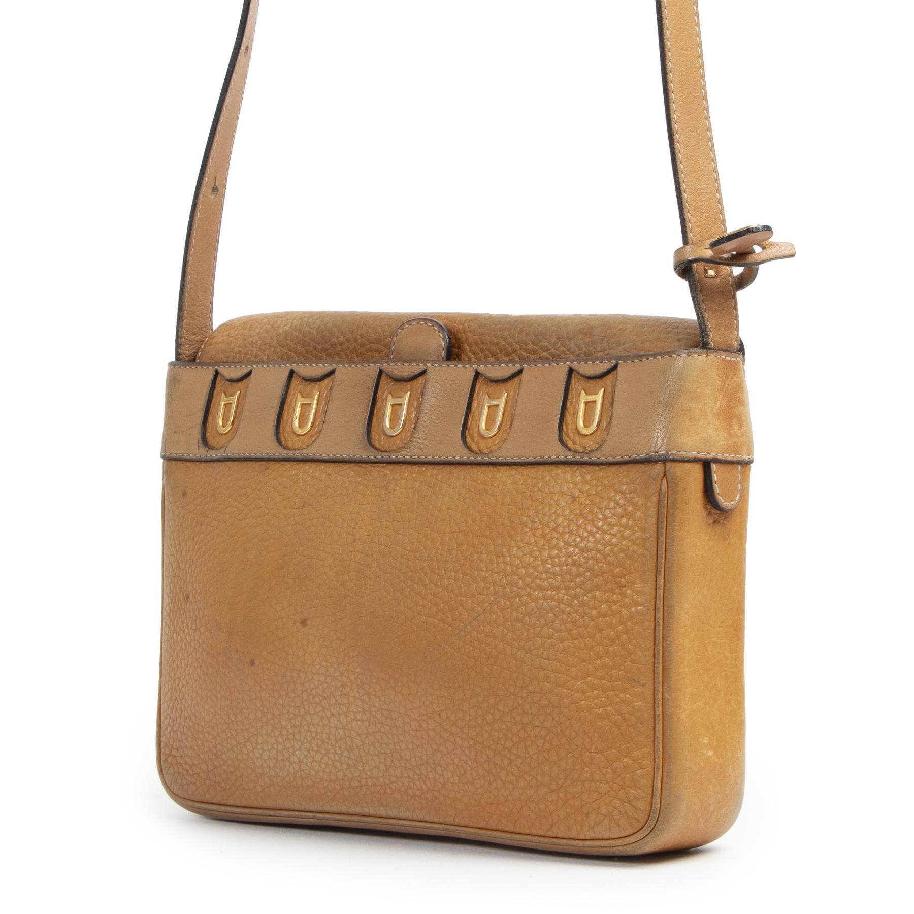 Authentieke Tweedehands Delvaux Cognac Leather Crossbody Bag juiste prijs veilig online shoppen luxe merken webshop winkelen Antwerpen België mode fashion