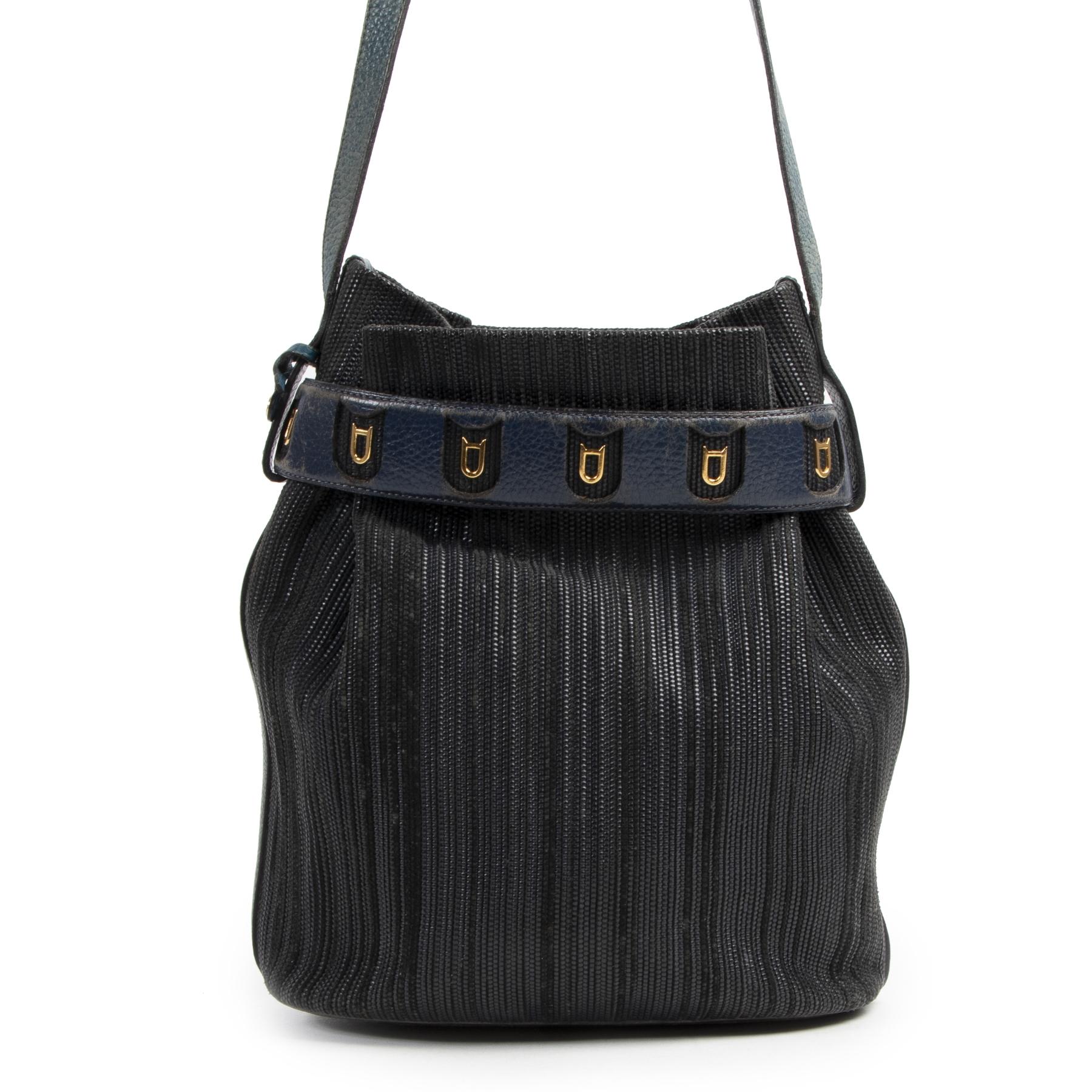 Authentieke Tweedehands Delvaux Blue Toile De Cuir Calicot Bucket Bag juiste prijs veilig online shoppen luxe merken webshop winkelen Antwerpen België mode fashion