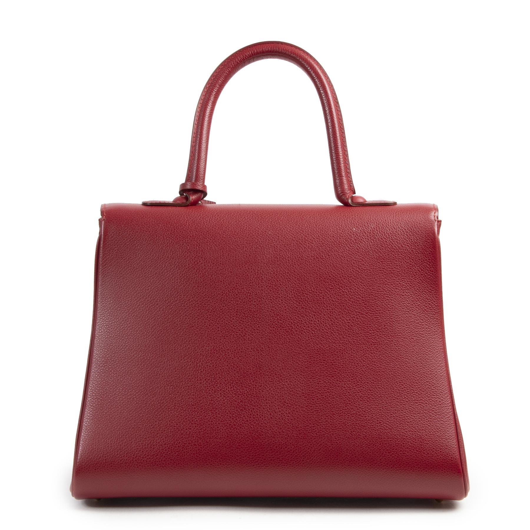 Authentieke Tweedehands Delvaux Red Brillant MM Bag + Strap juiste prijs veilig online shoppen luxe merken webshop winkelen Antwerpen België mode fashion