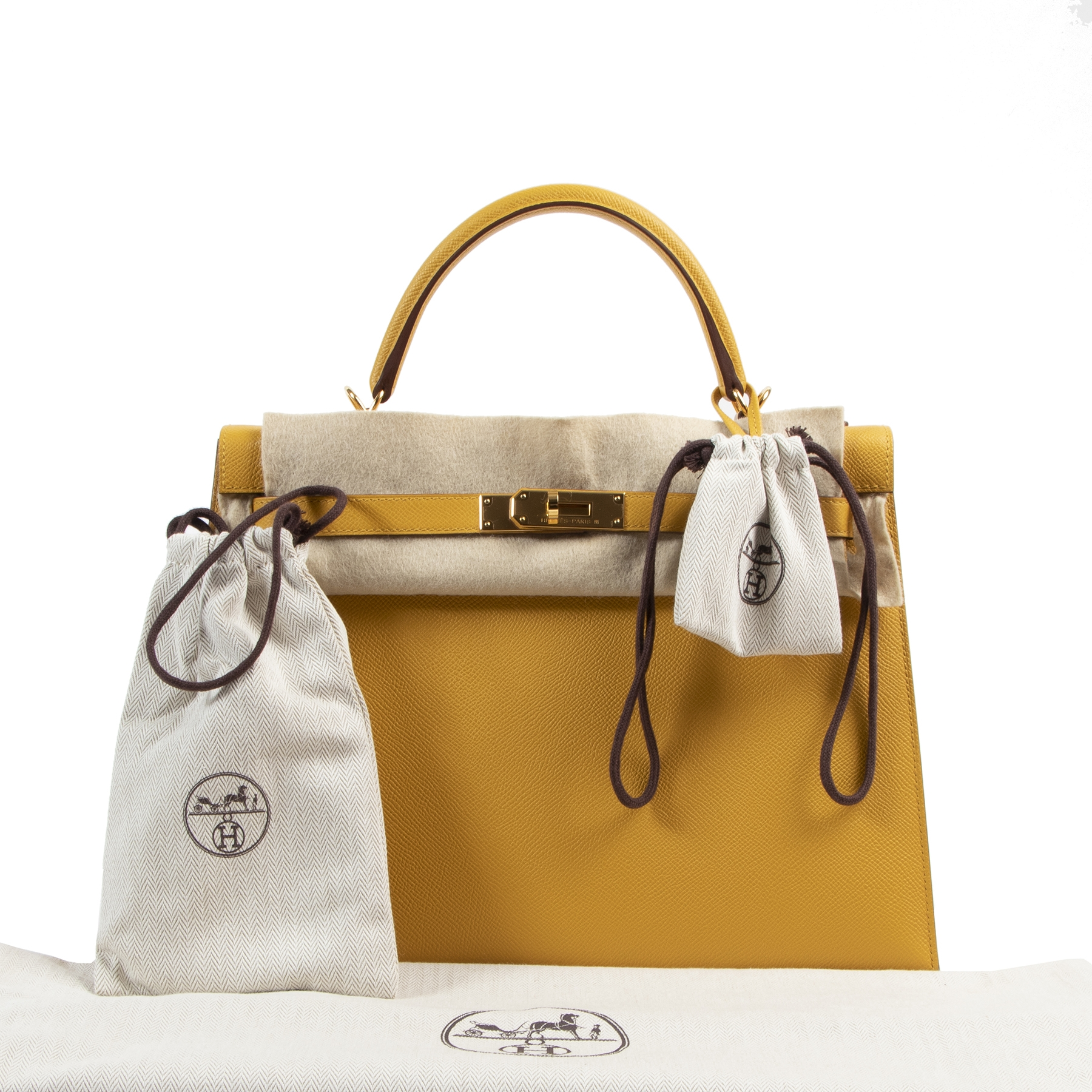 Koop en verkoop uw authentieke designer Hermès Kelly 32 Jaune Ambre Veau Epsom GHW