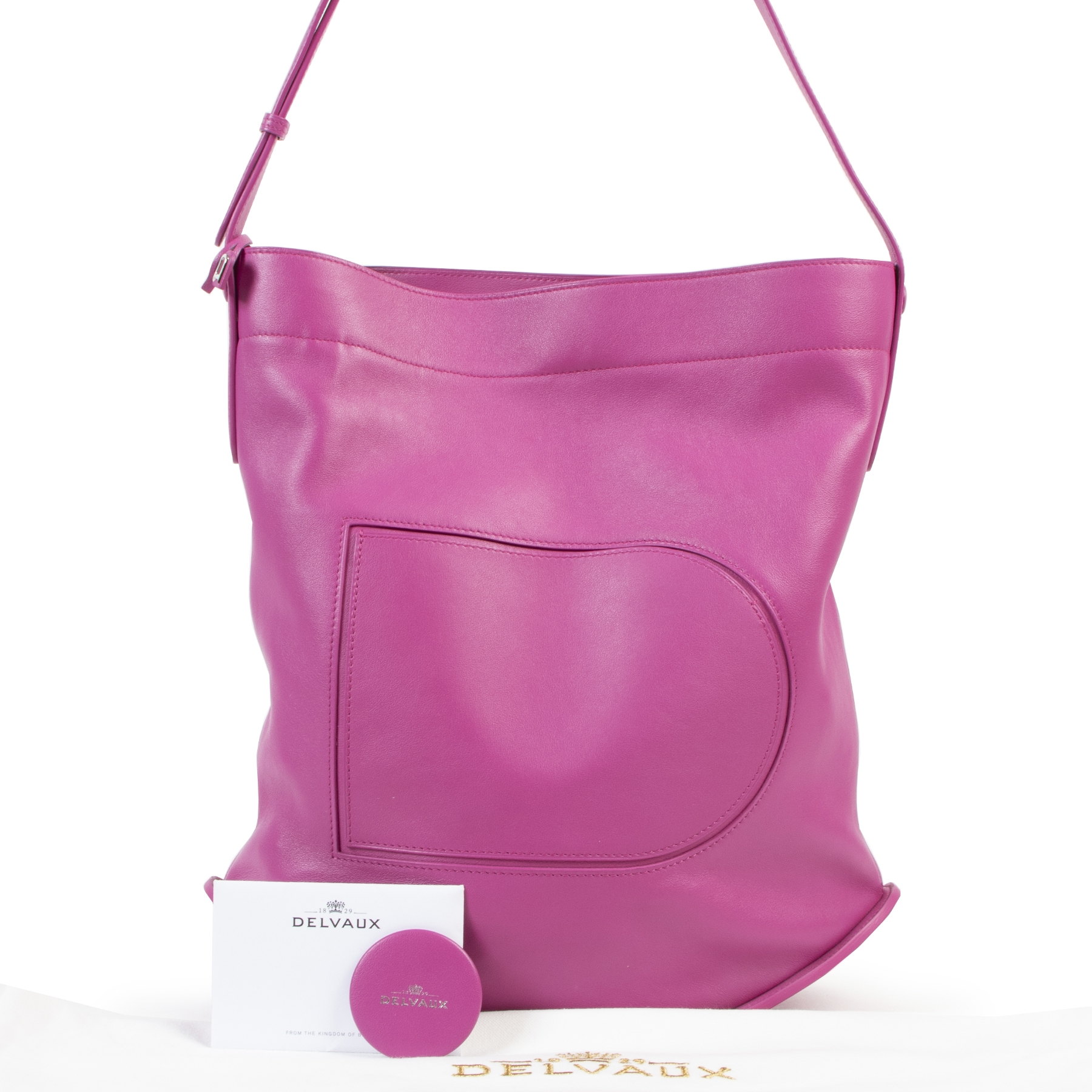 100% authentic Delvaux Le Pin Allure Héliotrope Pink Shoulder Bag for the best price at Labellov secondhand luxury in Antwerp.