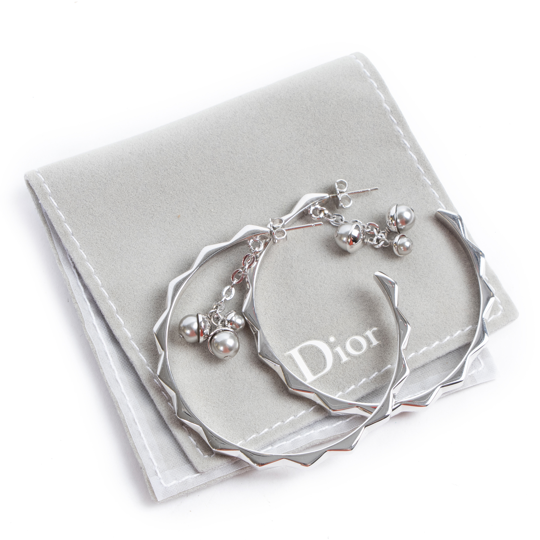 Christian Dior Silver Hoop Earrings for the best price at labellov secondhand