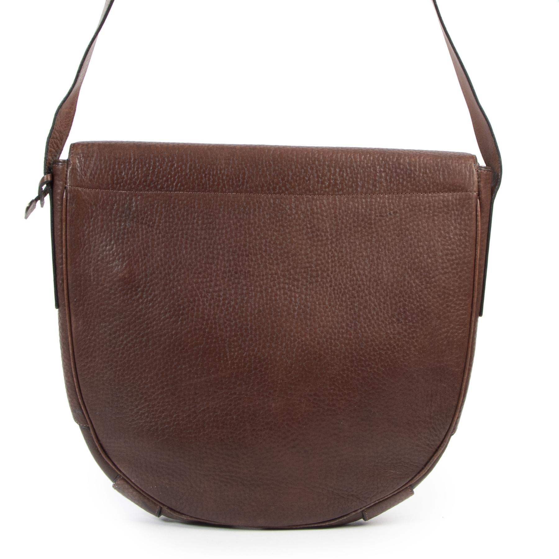 Authentieke Tweedehands Delvaux Brown Leather Flap Bag juiste prijs veilig online shoppen luxe merken webshop winkelen Antwerpen België mode fashion