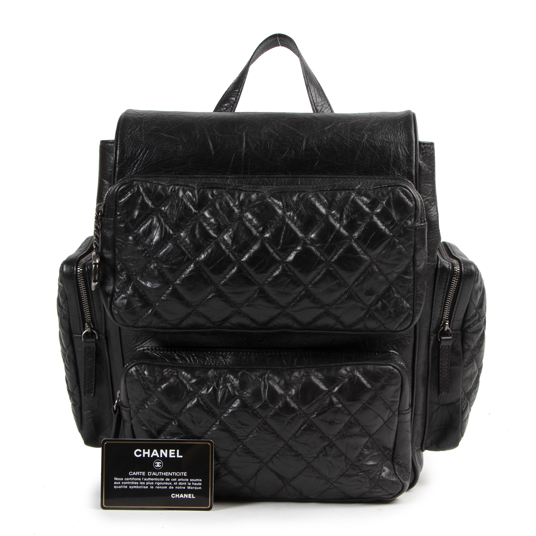 Authentic secondhand Chanel Black Aged Quilted Lambskin Leather