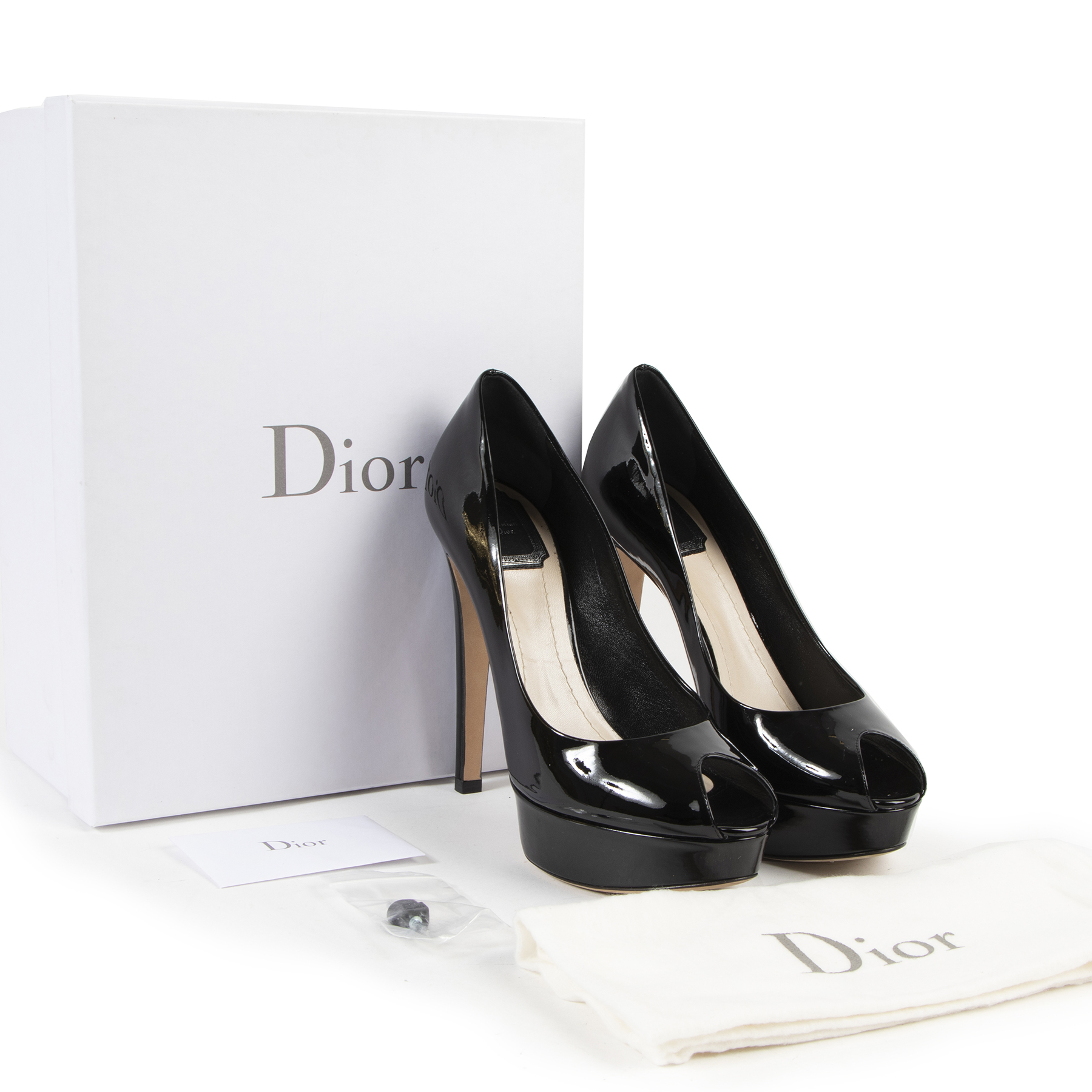 We buy and sell your authentic designer Christian Dior Black Patent Leather Platform Pumps