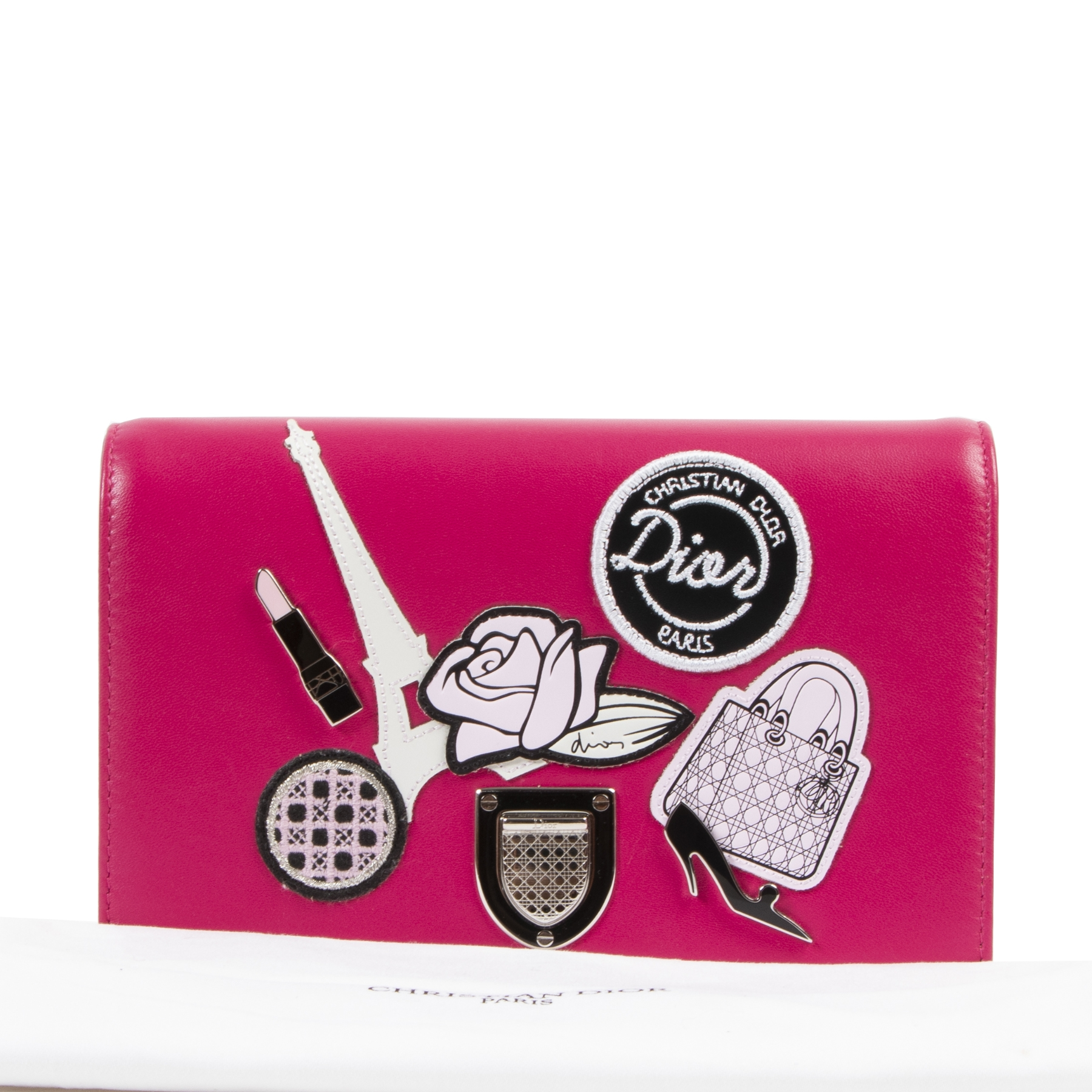 Dior Diorama Pink Patch Embellished Wallet on Chain Bag