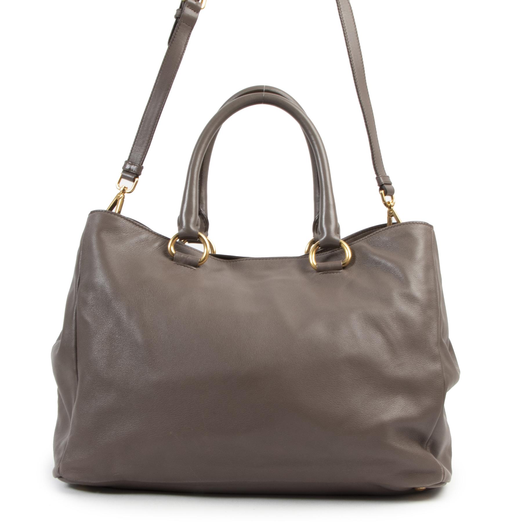 Authentieke Tweedehands Prada Grey Bambu Top Handle Bag juiste prijs veilig online shoppen luxe merken webshop winkelen Antwerpen België mode fashion