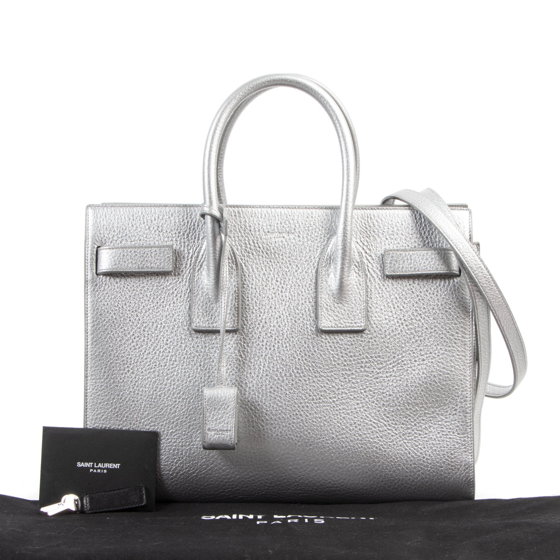Authentic secondhand Saint Laurent Small Silver Sac de Jour Top Handle designer bags fashion luxury vintage webshop safe secure online shopping