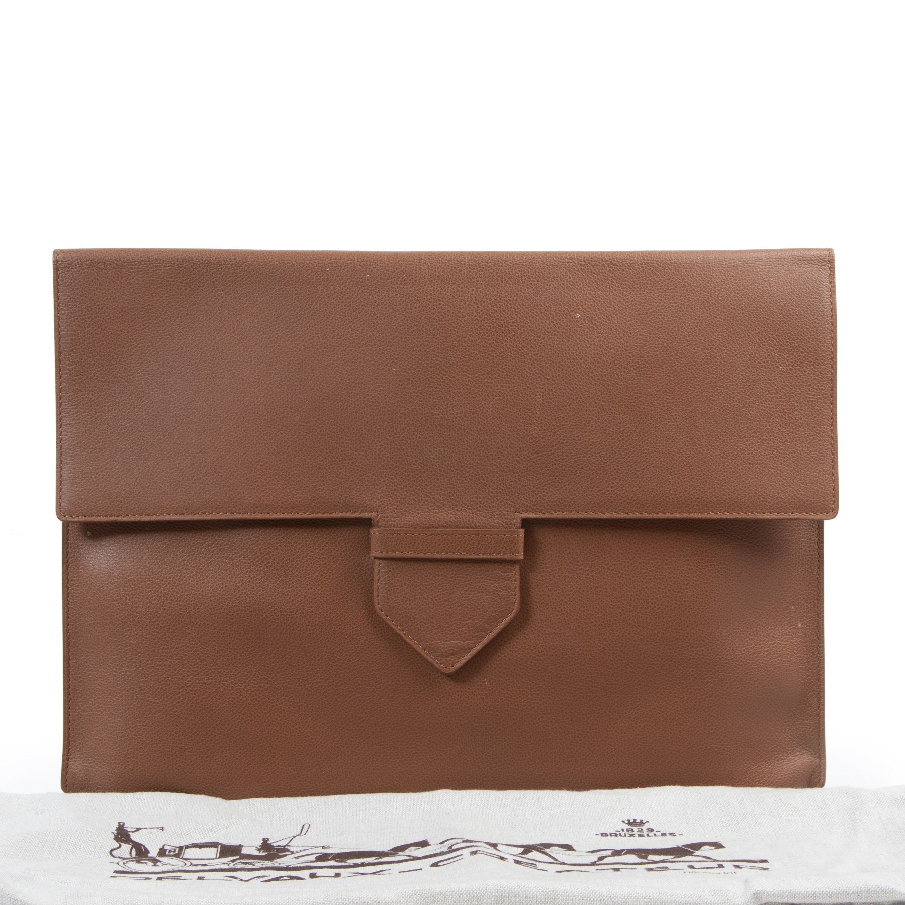 Delvaux Brown Leather A4 Presse Pouch te koop