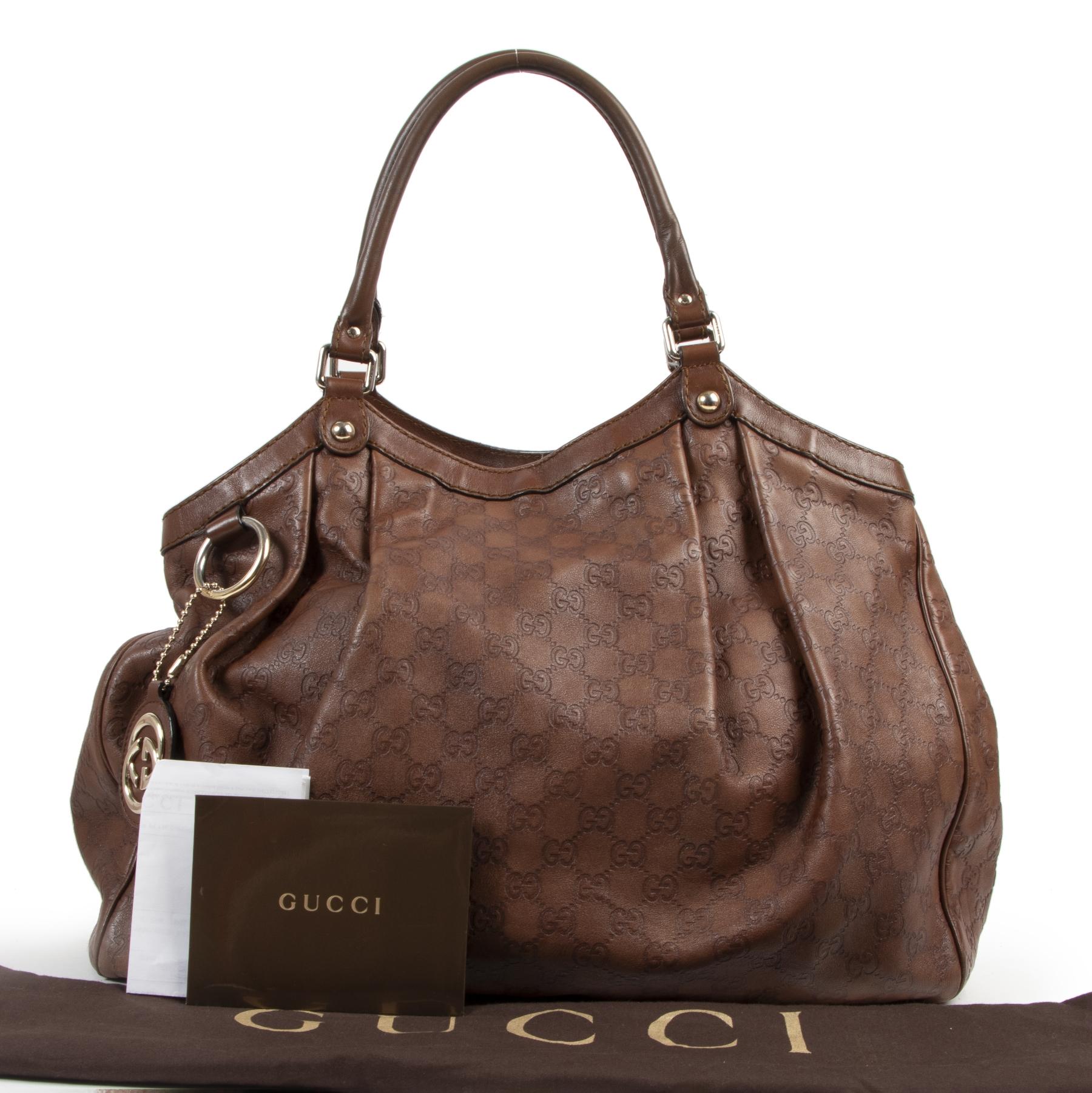 Authentieke Tweedehands Gucci Brown Monogram Leather Shopper juiste prijs veilig online shoppen luxe merken webshop winkelen Antwerpen België mode fashion