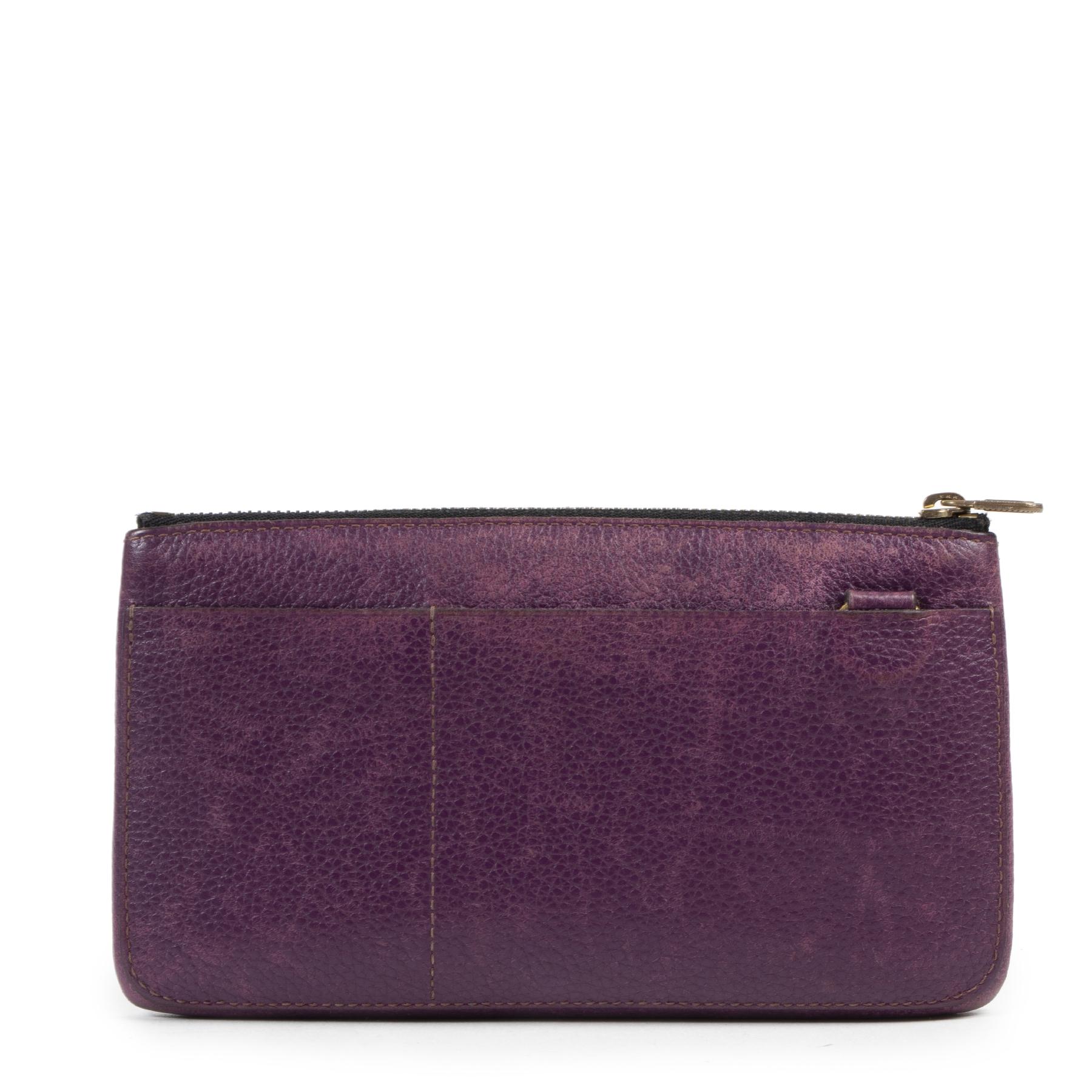 Authentieke Tweedehands Delvaux Purple Leather Pouch juiste prijs veilig online shoppen luxe merken webshop winkelen Antwerpen België mode fashion