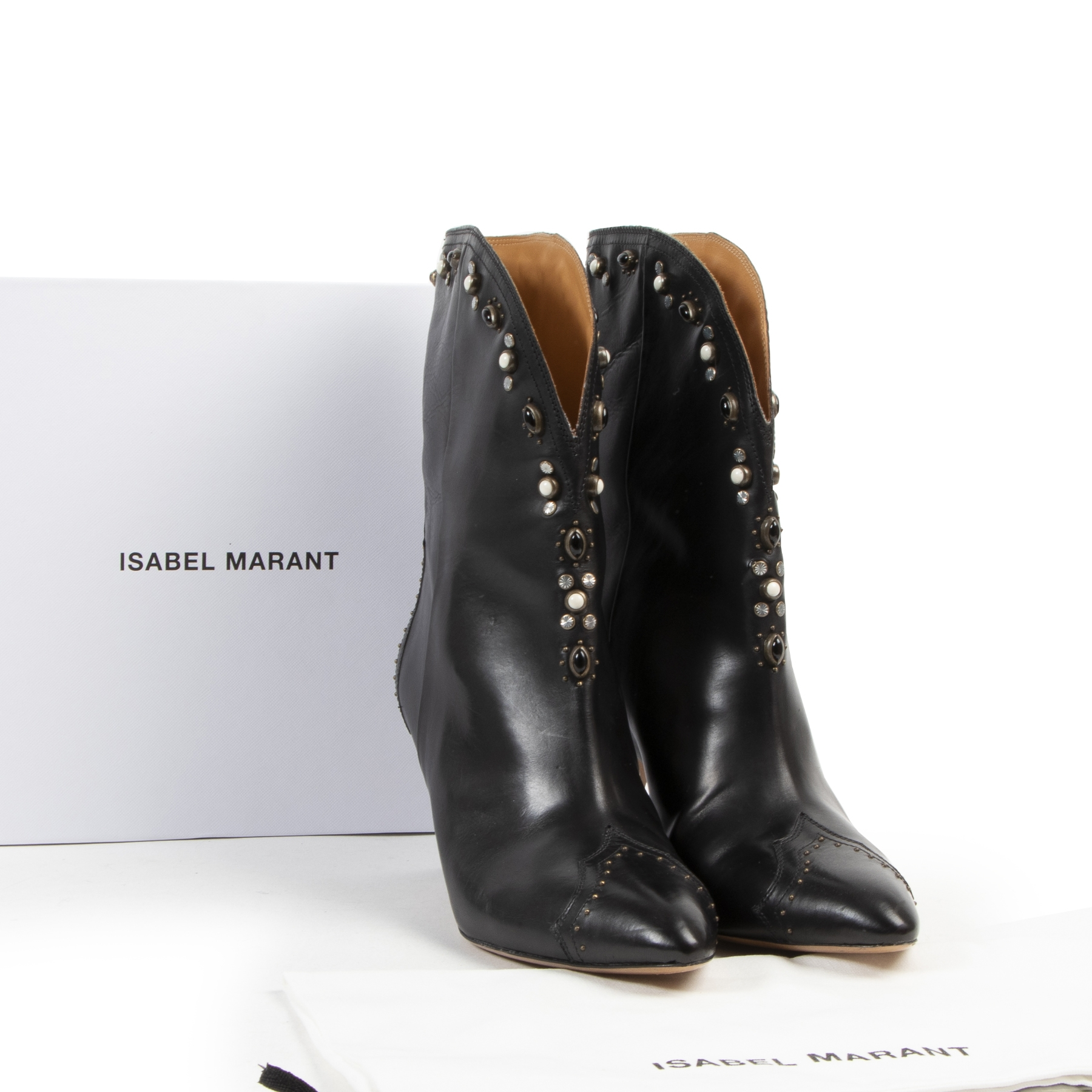 Authentic secondhand Isabel Marant Black Heeled Boots With Details - Size 41 designer bags fashion luxury vintage webshop safe secure online shopping