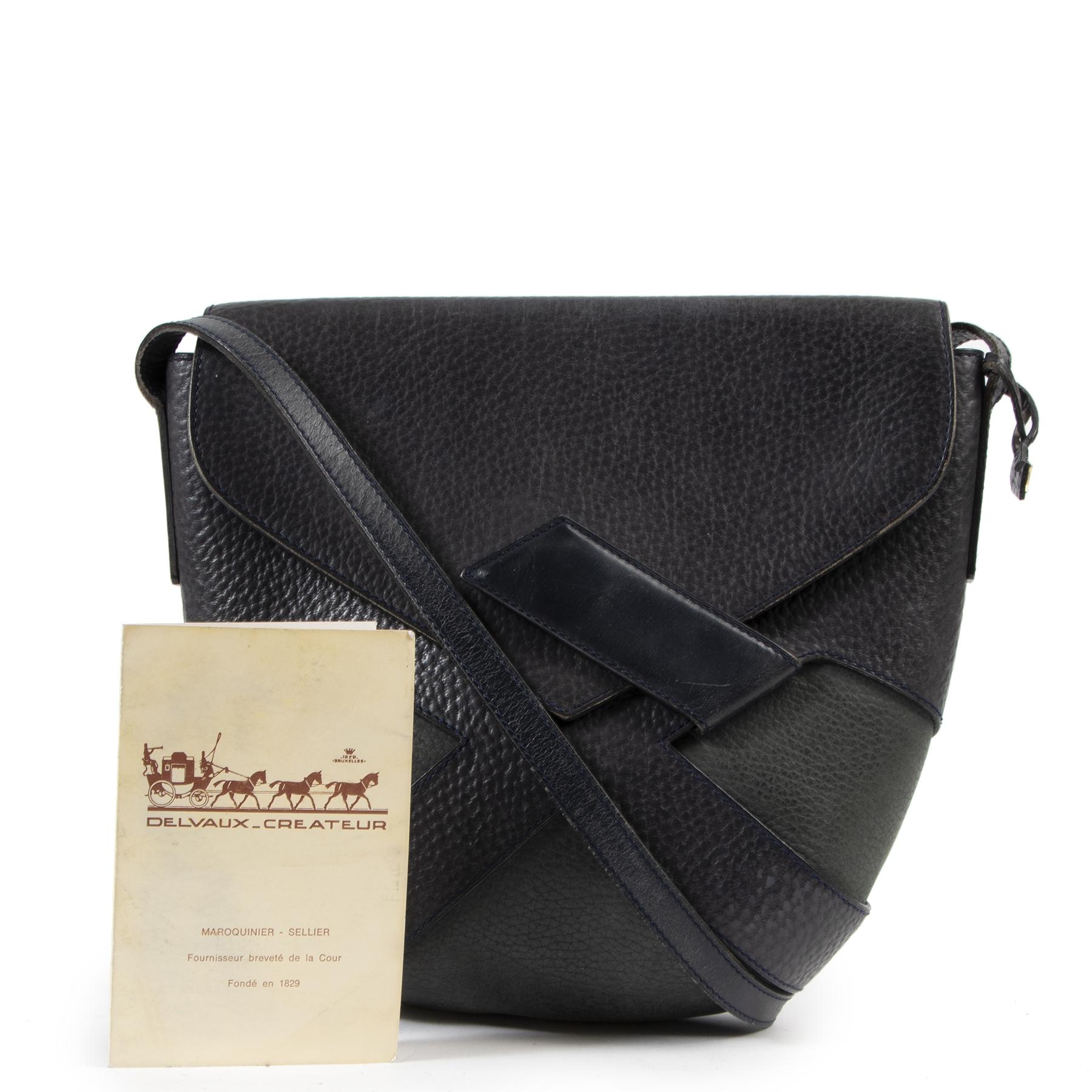 Authentieke Tweedehands Delvaux Blue Bicolor Leather Crossbody Bag juiste prijs veilig online shoppen luxe merken webshop winkelen Antwerpen België mode fashion
