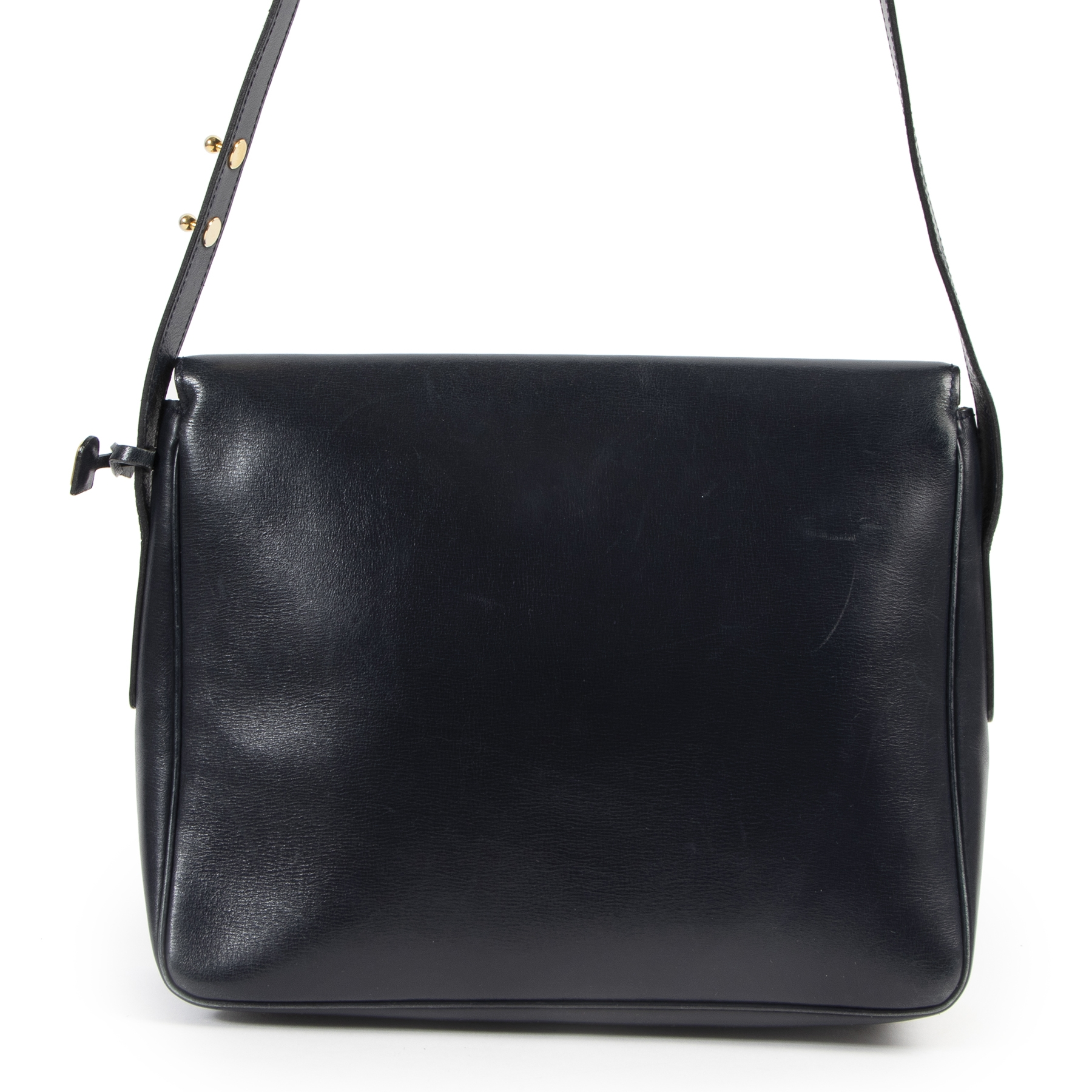 Delvaux Dark Blue Poirier Shoulder Bag
