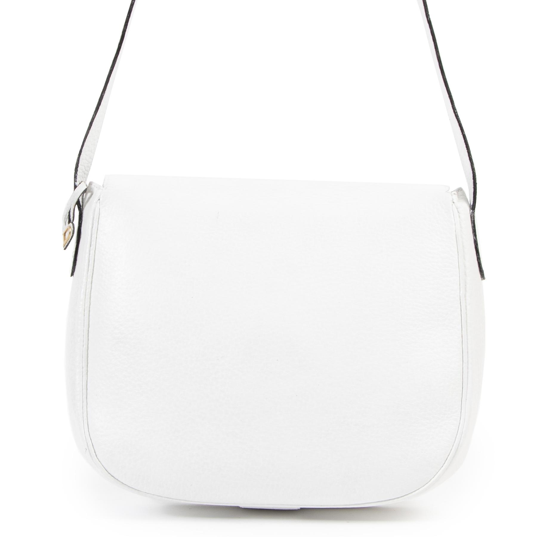 Authentieke Tweedehands Delvaux White Leather Crossbody Bag juiste prijs veilig online shoppen luxe merken webshop winkelen Antwerpen België mode fashion