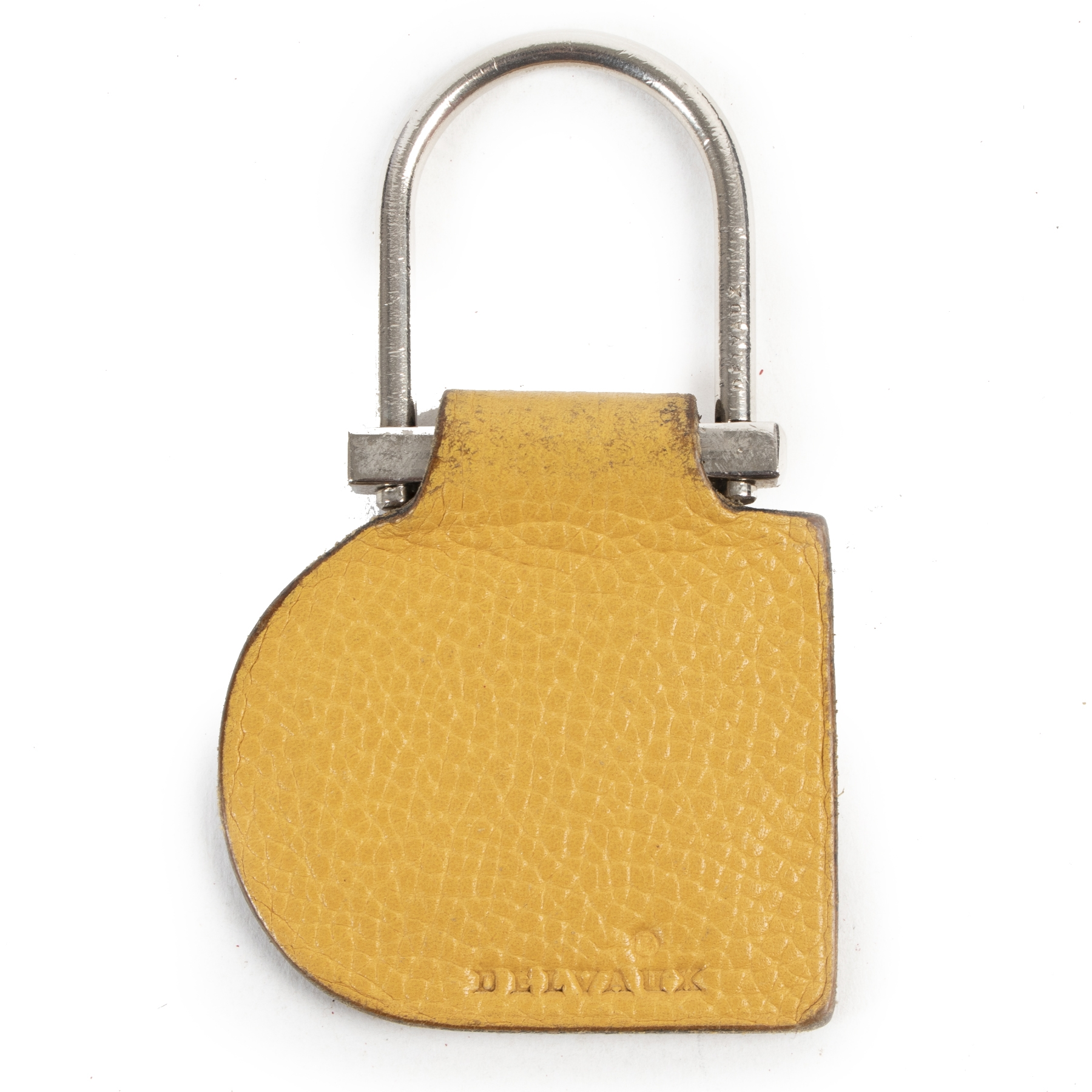 Authentieke Tweedehands Delvaux Yellow Leather Keychain juiste prijs veilig online shoppen luxe merken webshop winkelen Antwerpen België mode fashion