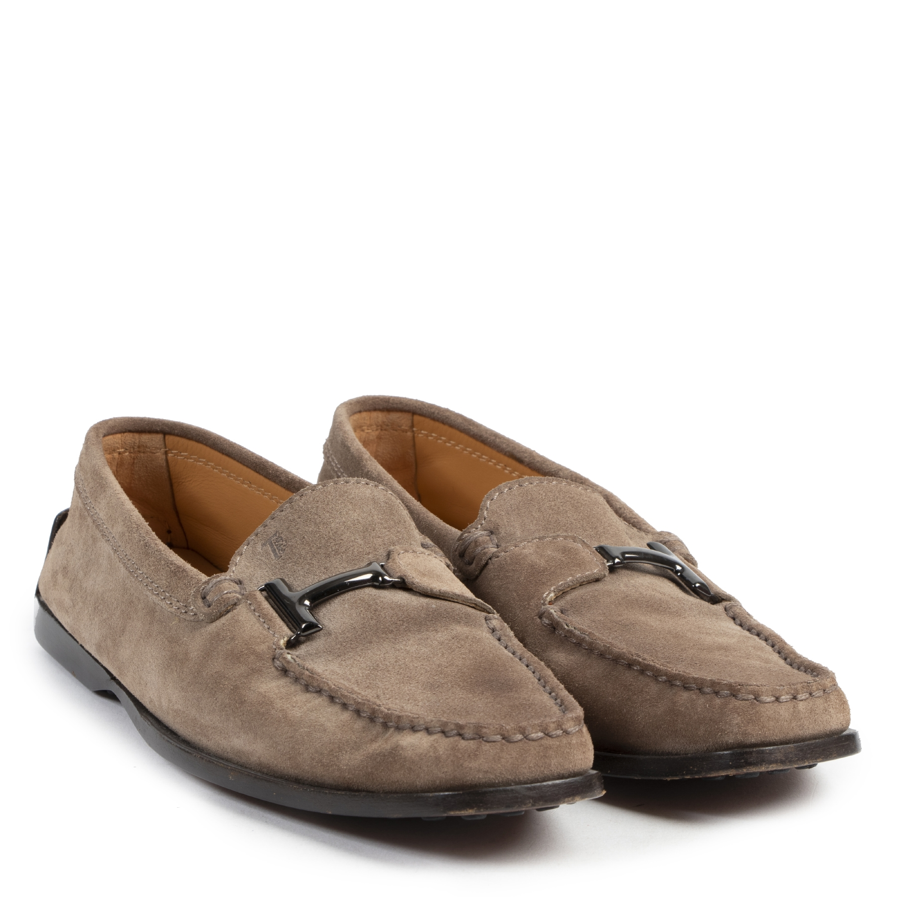 Tod's Taupe Suede Moccassin Flats - size 36.5 for sale