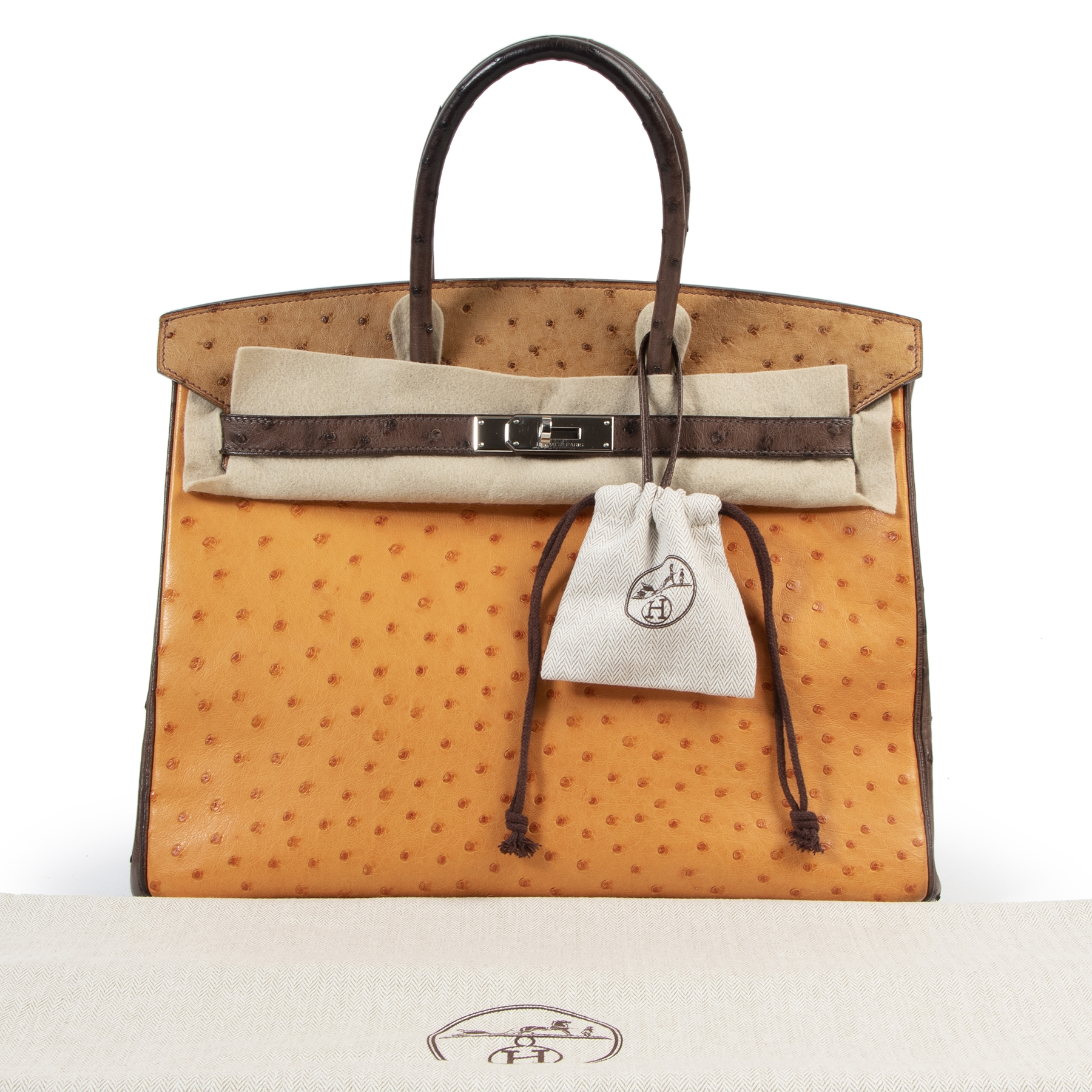 Are you looking for an authentic Hermès Birkin 35 Tricolore Autruche Doublure Chevre Pigmente PHW?