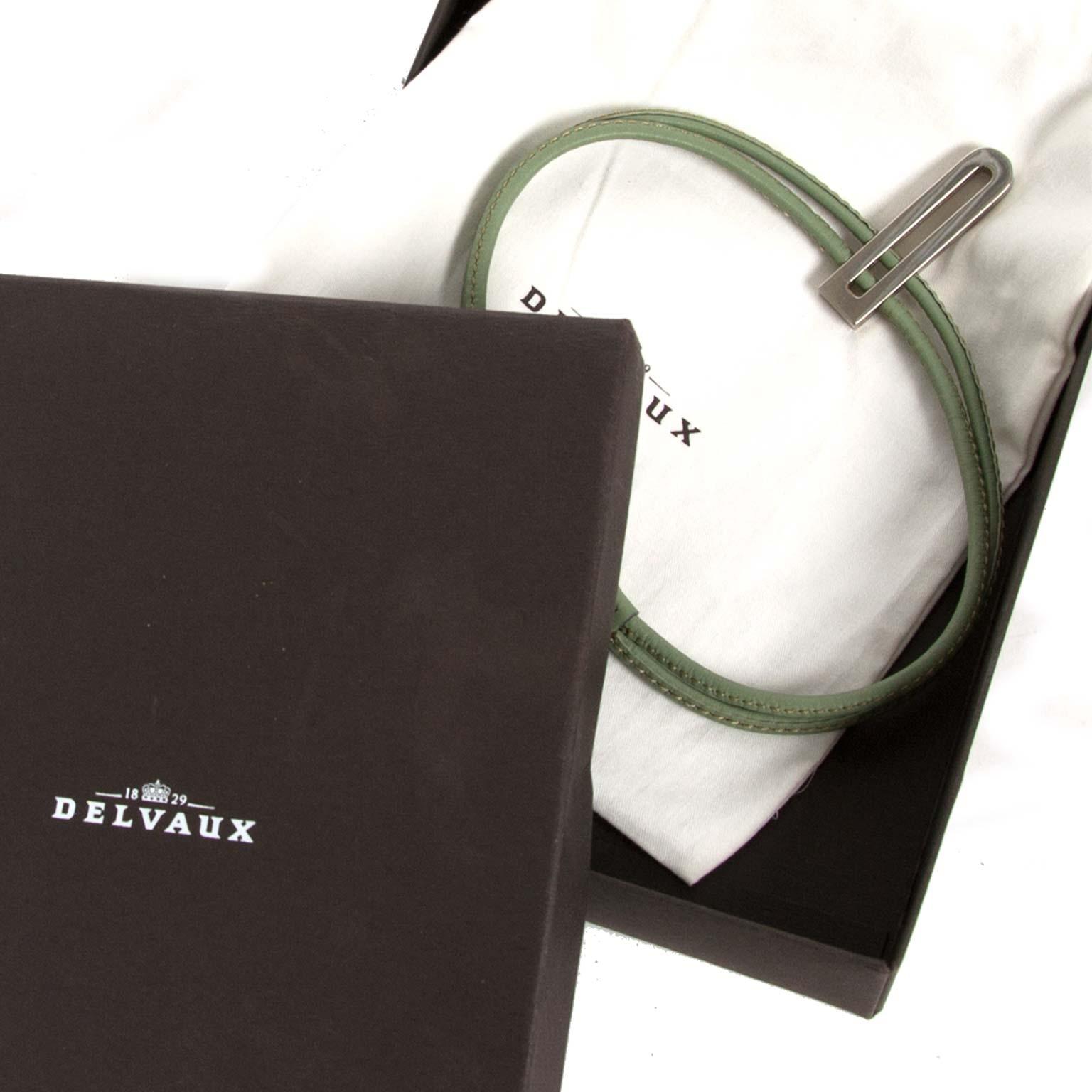 delvaux green d leather necklace now for sale at labellov vintage fashion webshop belgium