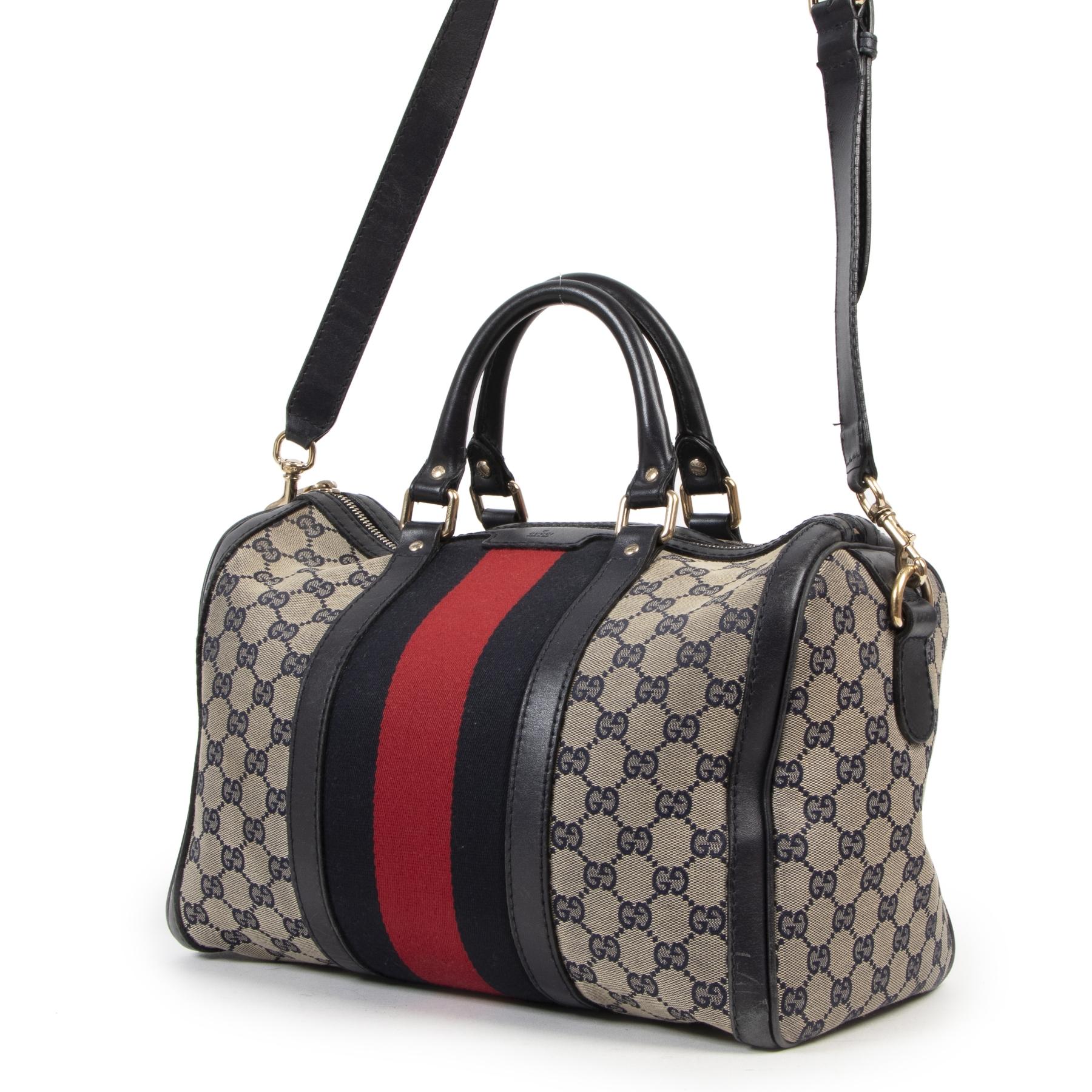 Gucci Vintage Web Original GG Blue Boston Bag kopen en verkopen aan de beste prijs