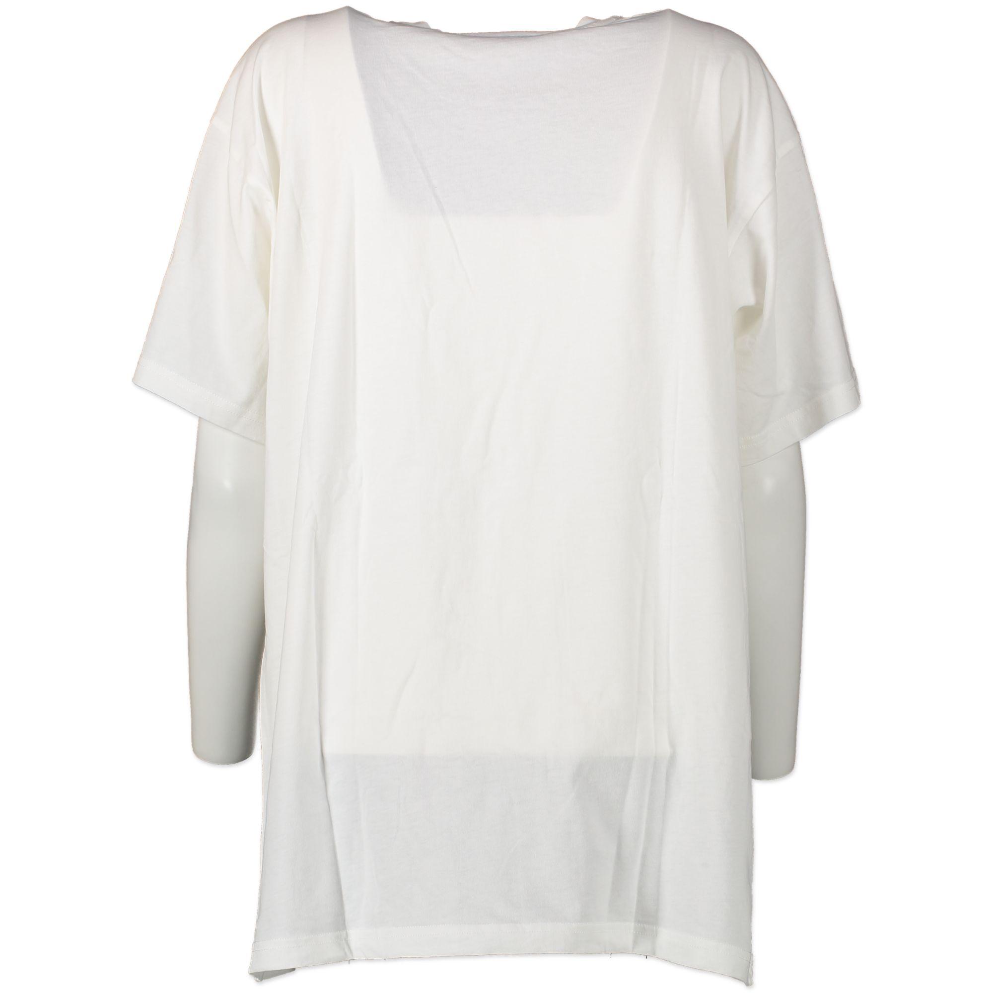 Authentieke Tweedehands Moschino White 'This Is Not A Moschino T-Shirt' Shirt - Size M juiste prijs veilig online shoppen luxe merken webshop winkelen Antwerpen België mode fashion