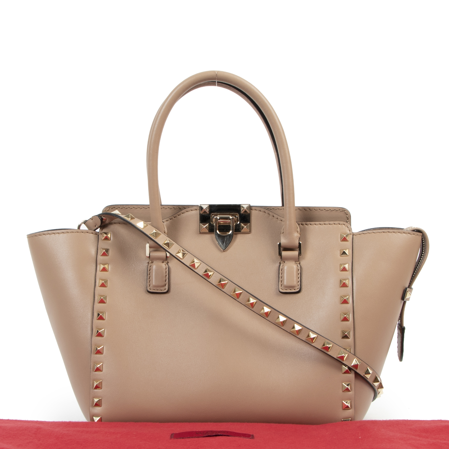 Valentino Garavani Nude Rockstud Small Leather Trapeze Bag