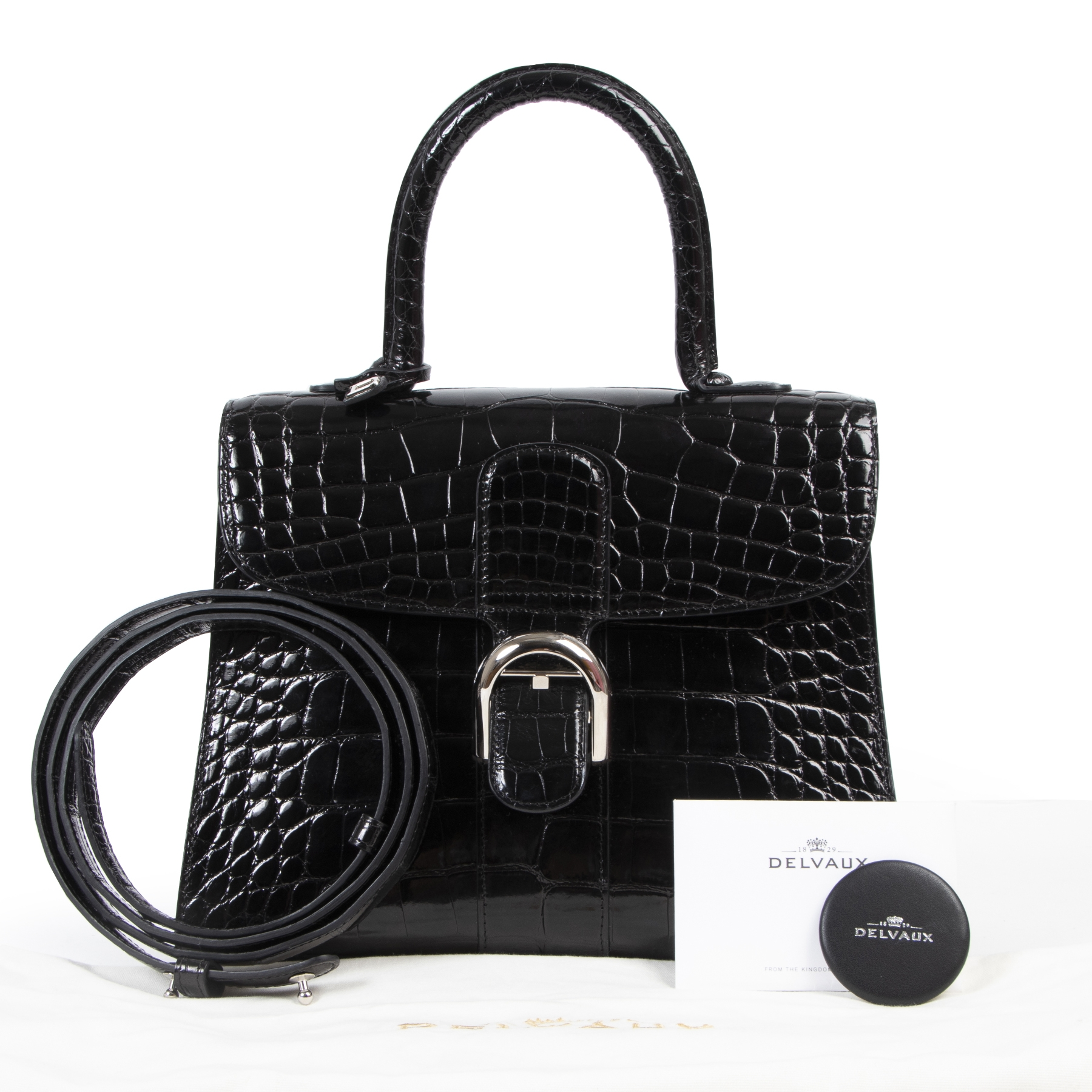 Delvaux Black Alligator Brillant MM 100% authentic designer bags online at Labellov