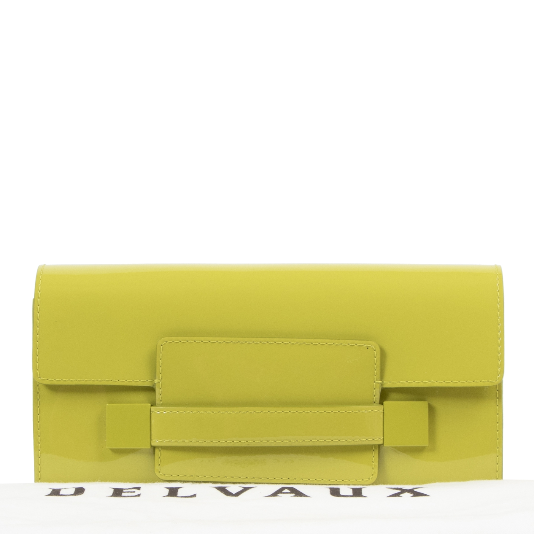 Koop en verkoop uw authentieke designer Delvaux Madame Lime Green Patent Leather Wallet
