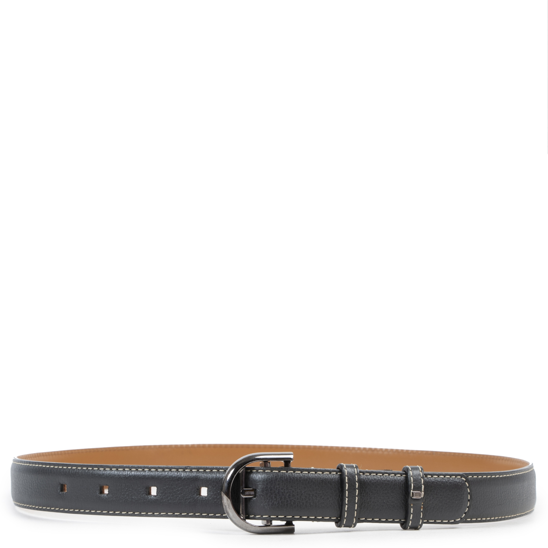 Delvaux Anthracite Grey Leather Belt - size 85