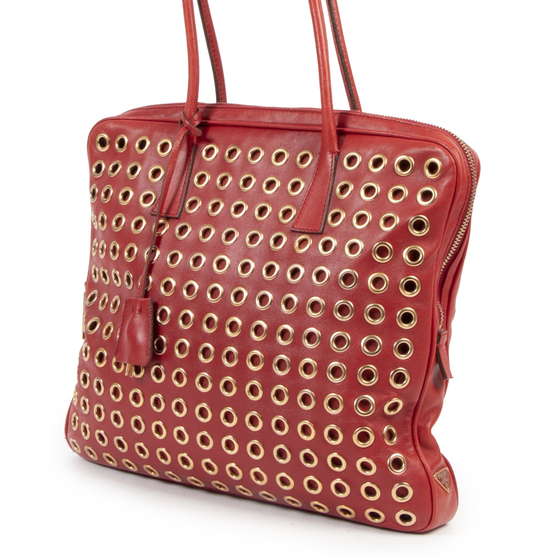 acheter en linge seconde main Prada Grommet Red Tote Bag