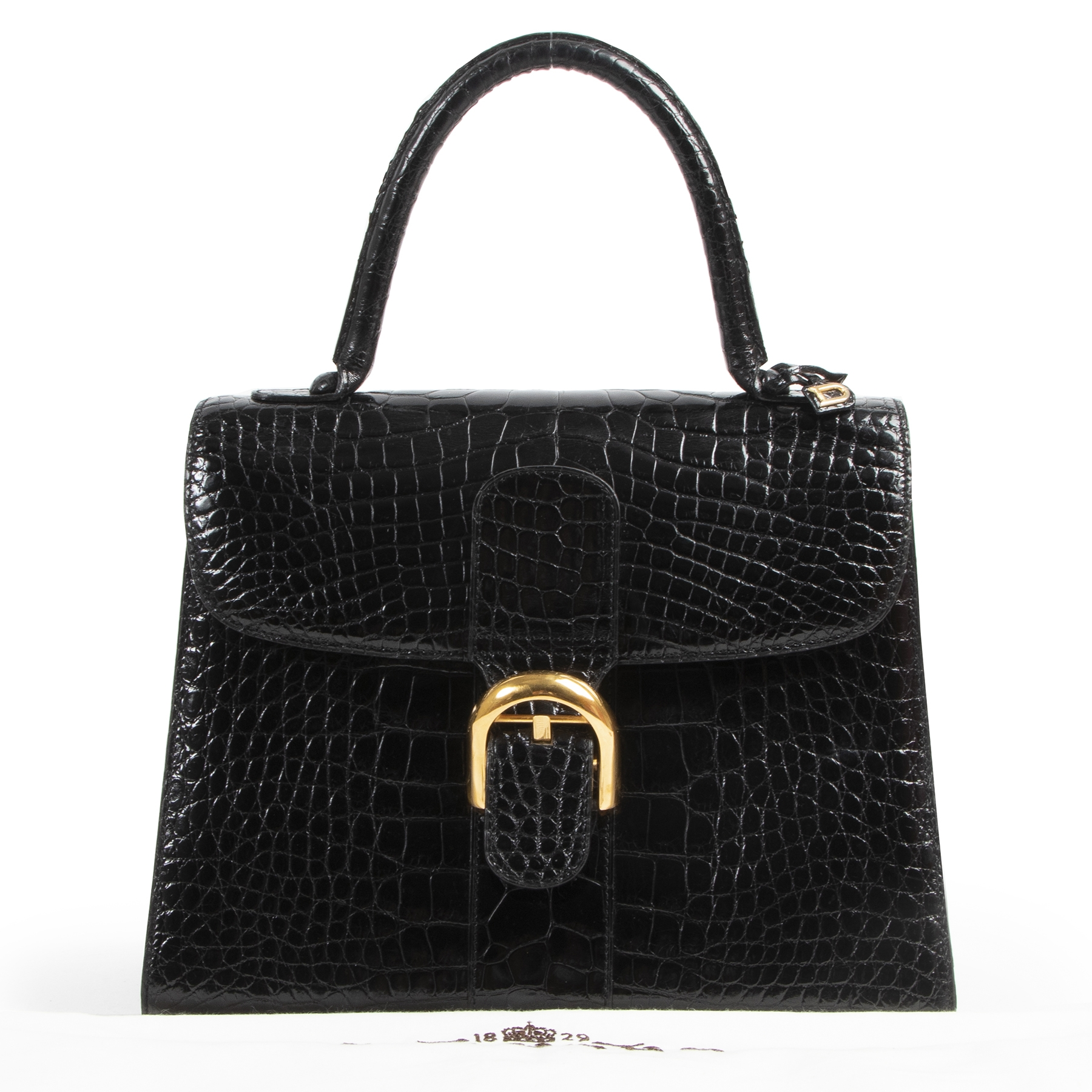 Delvaux Black Croco Brillant MM GHW for sale online