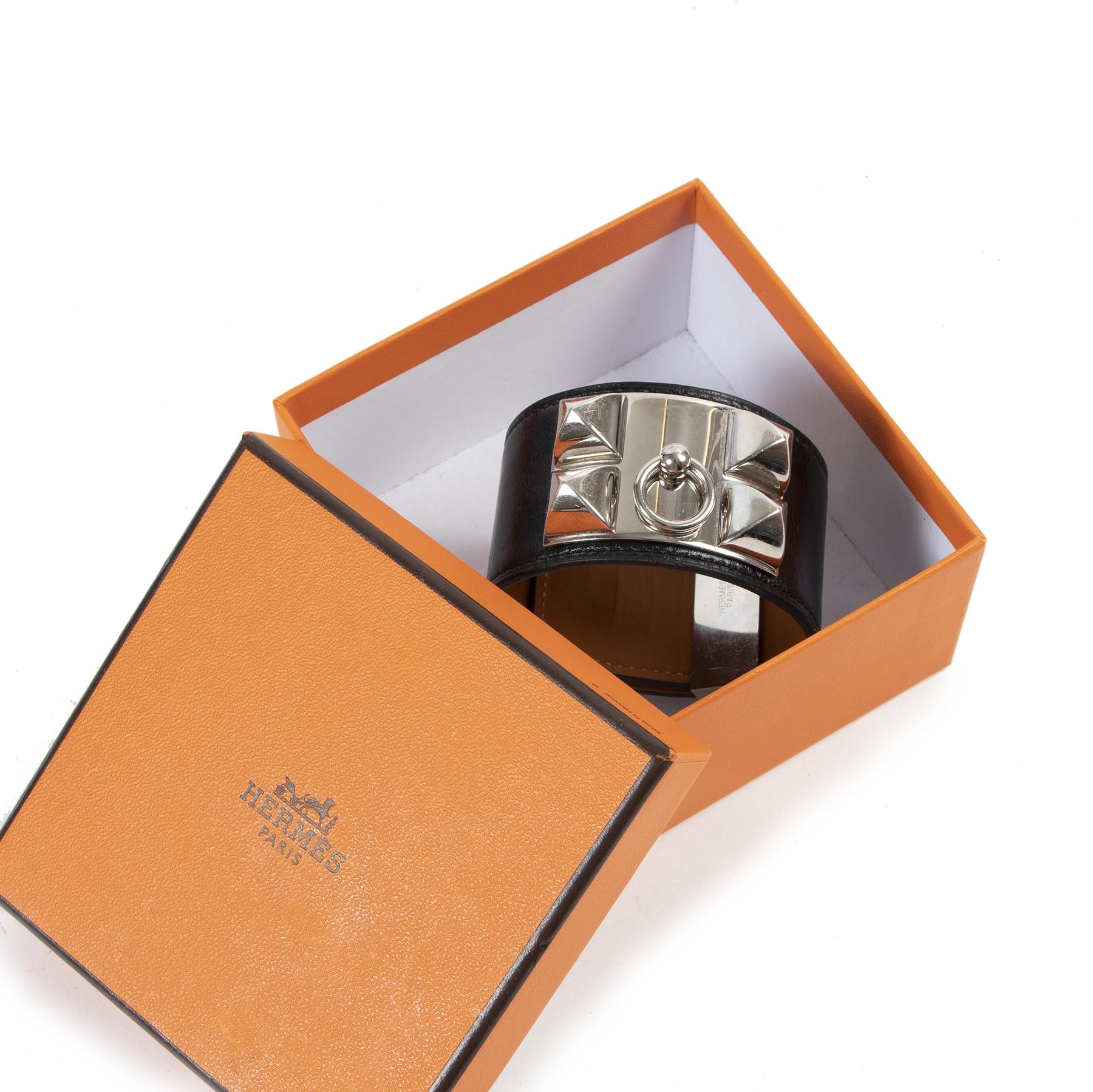 Authentic secondhand Hermès Black Leather Collier De Chien Bracelet - Size Large designer bracelets fashion luxury vintage webshop safe secure online shopping