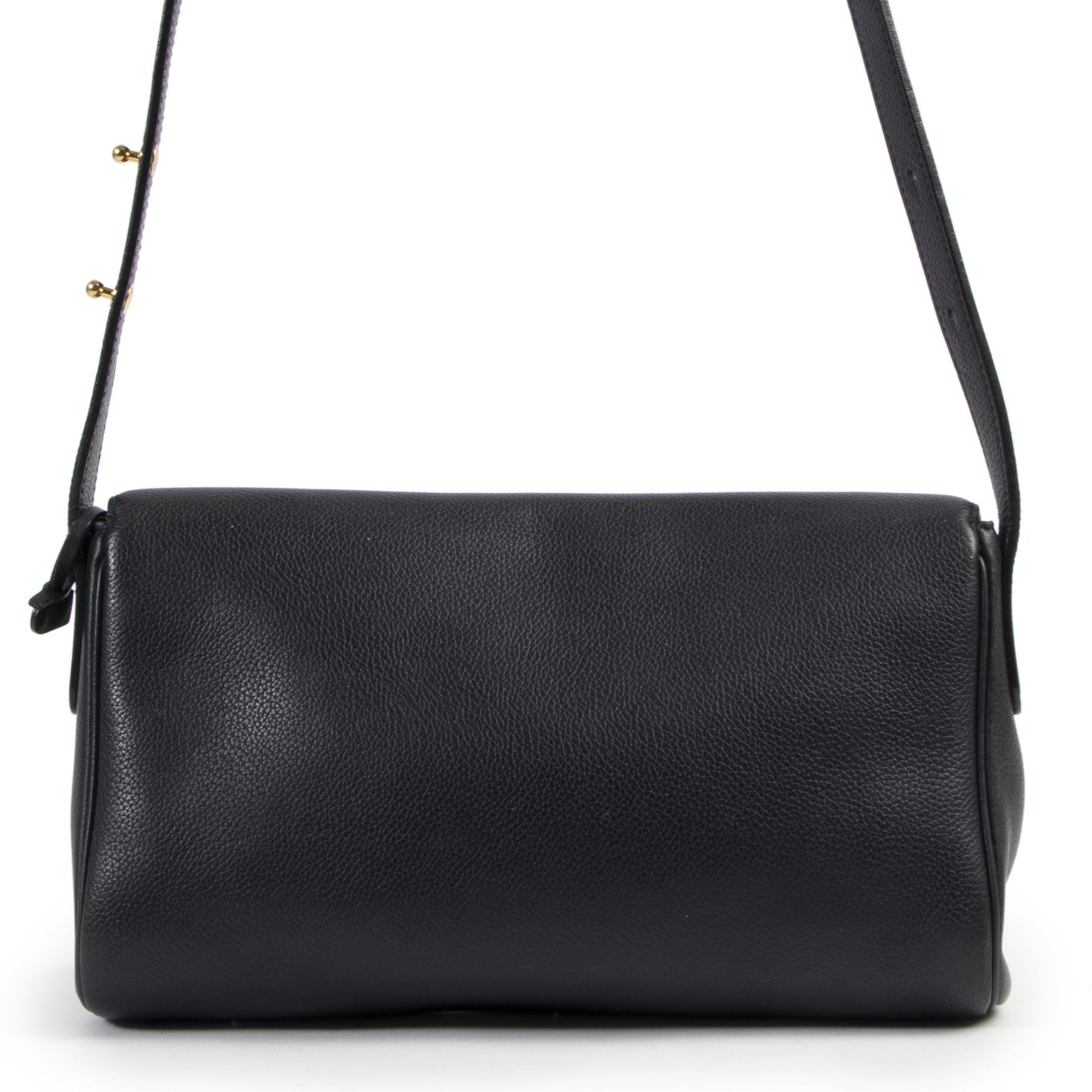 Authentic secondhand Delvaux Blue Passerelle Crossbody Bag designer bags fashion luxury vintage webshop safe secure online shopping