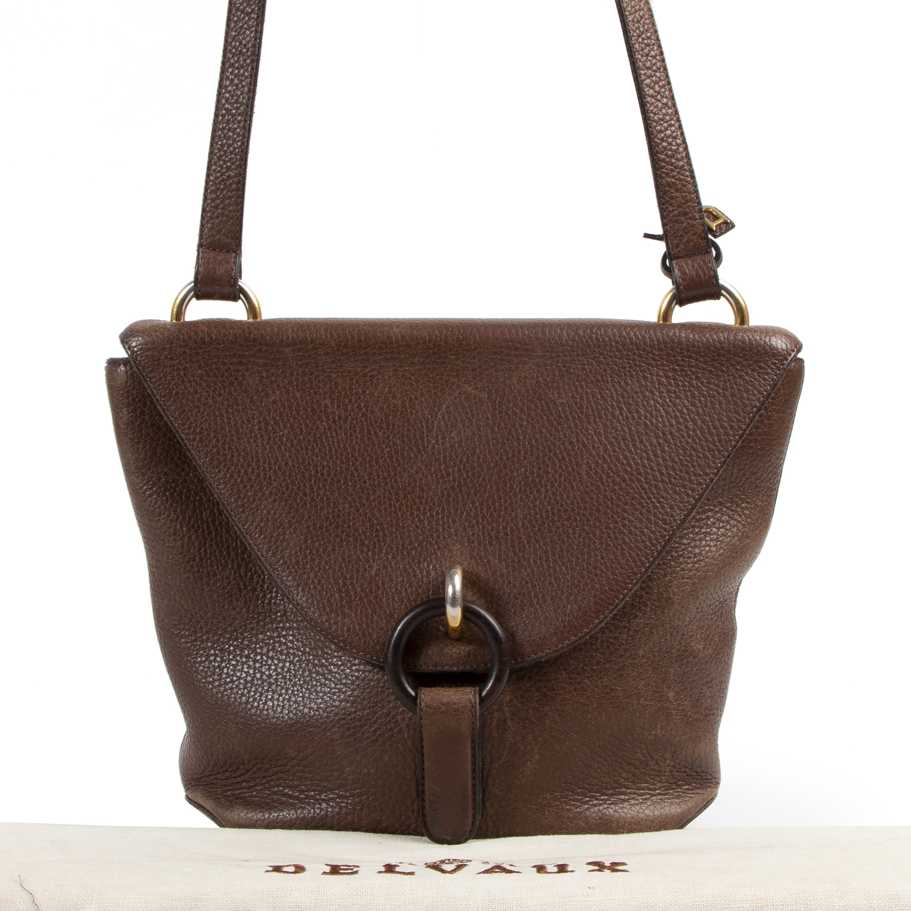 Authentic secondhand Delvaux Brown Front Flap Crossbody Bag designer bags fashion luxury vintage webshop safe secure online shopping