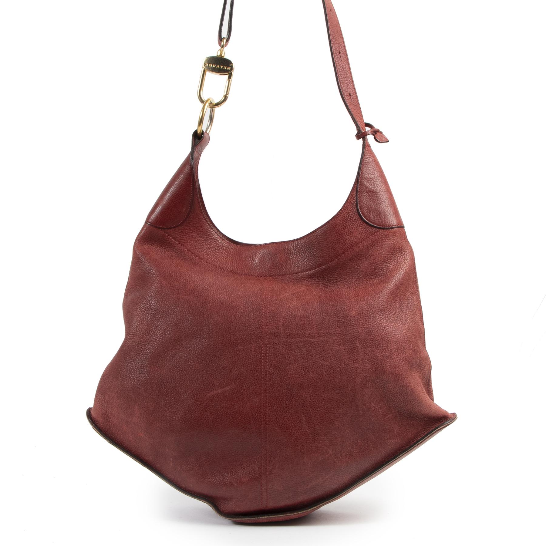 Authentieke Tweedehands Delvaux Red Leather Shoulder Bag juiste prijs veilig online shoppen luxe merken webshop winkelen Antwerpen België mode fashion