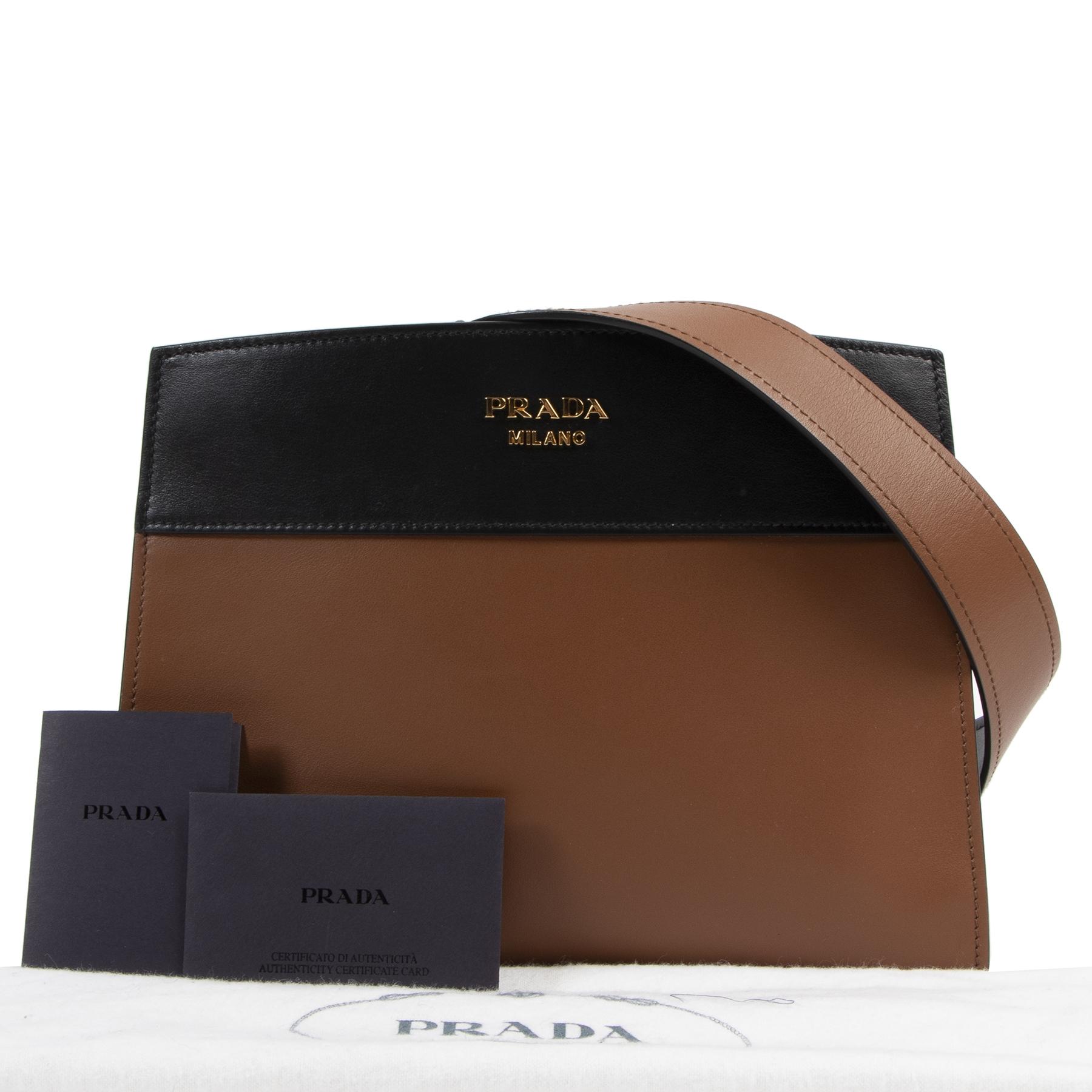 Authentic secondhand Prada Brown Esplanade Leather Shoulder Bag designer bags fashion luxury vintage webshop safe secure online shopping
